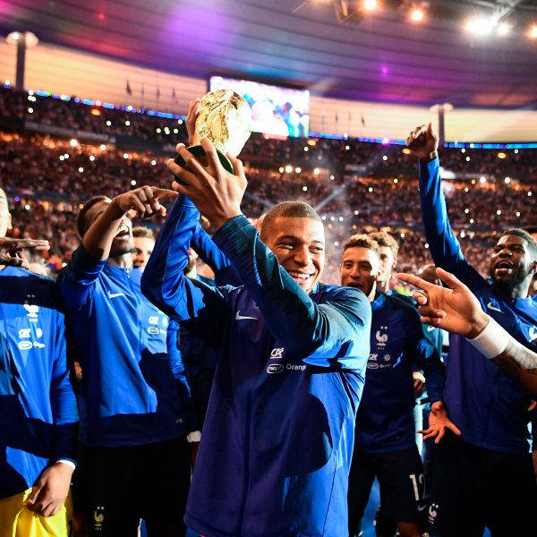 Mbappé during a September ceremony to celebrate France's World Cup win. At 19, he became the country's youngest goal scorer at a major tournament.
