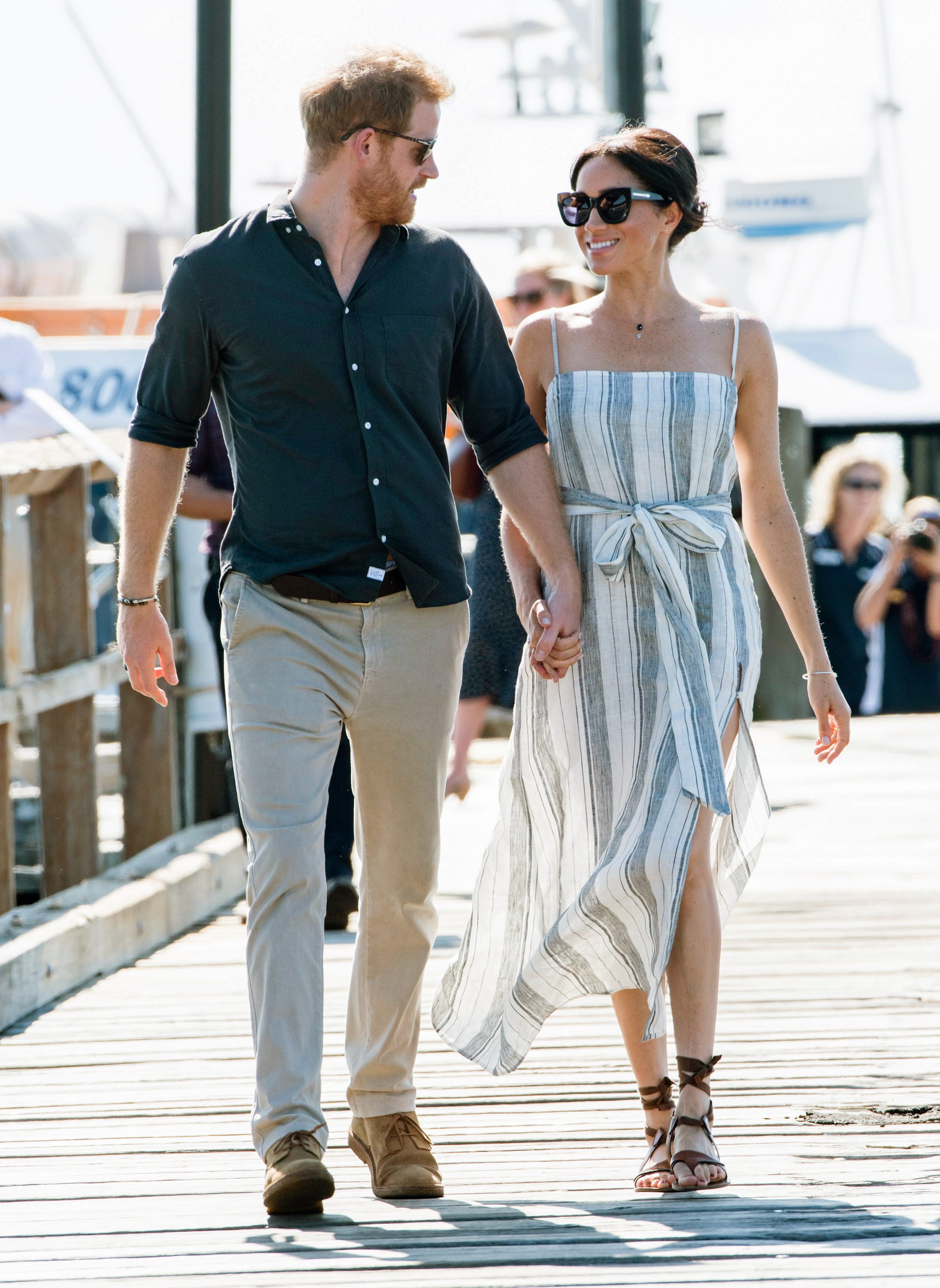 Meghan Markle wears a Reformation dress in Fraser Island, Australia. (Pool/Samir Hussein/WireImage)