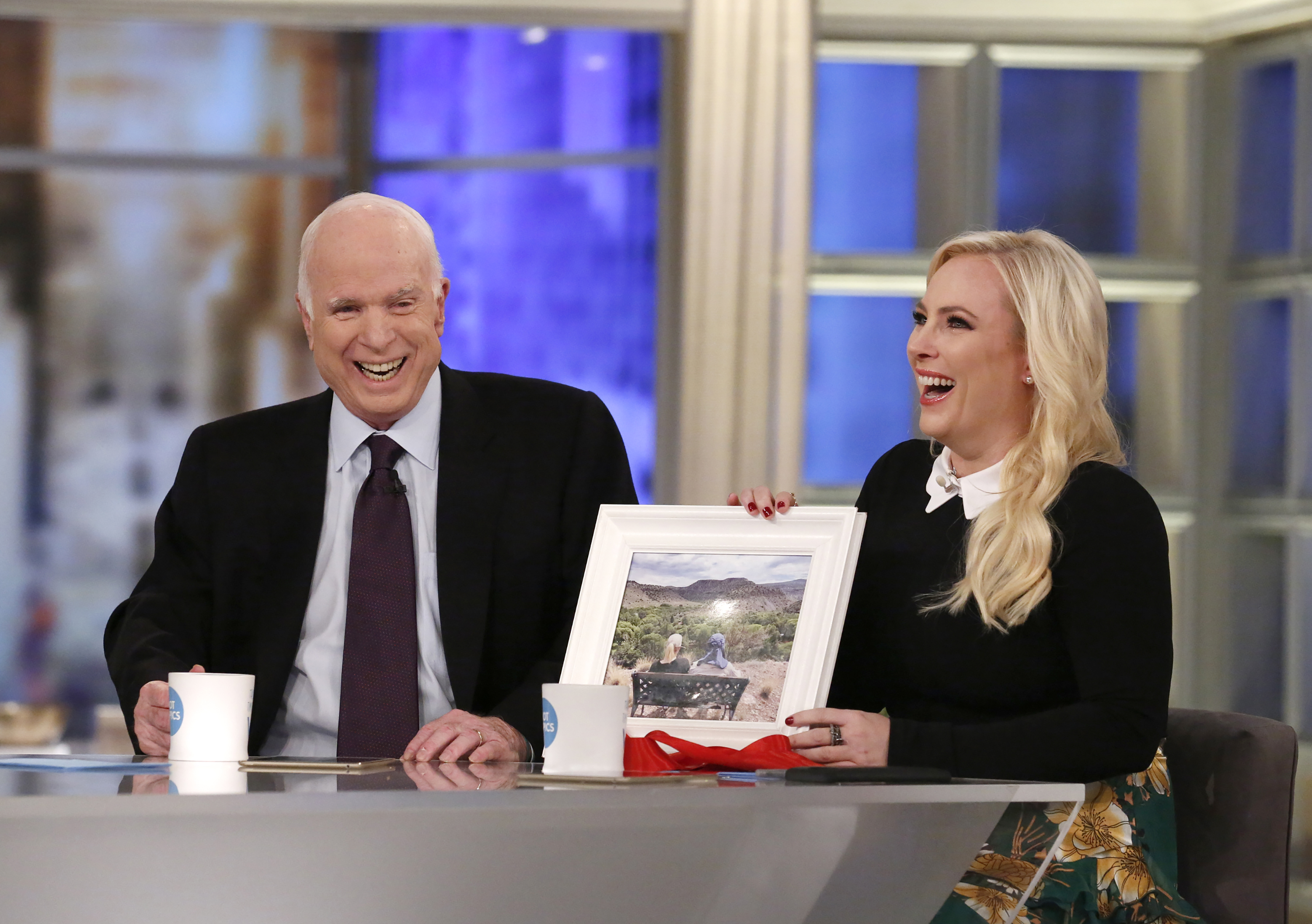 Senator John McCain, Meghan McCain on 'The View', a visit for Meghan McCain's birthday, Monday, October 23, 2017.