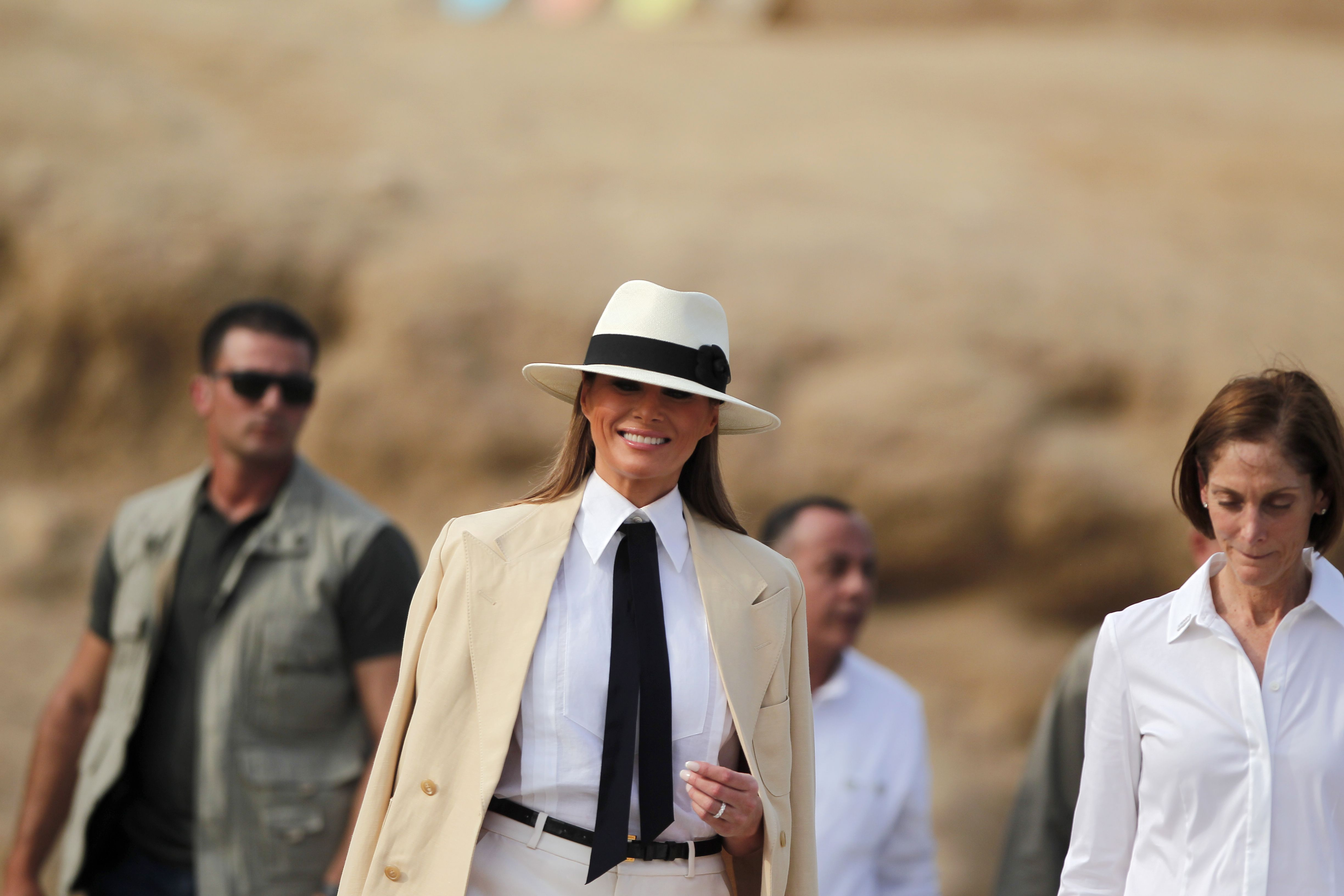 U.S. First Lady Melania Trump visits the Giza Pyramids in Giza, Egypt on Oct. 6, 2018.