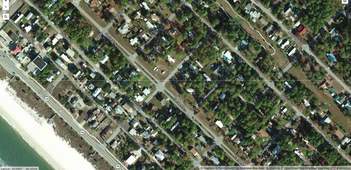 Before: Mexico Beach, Fla.- Lush green neighborhoods near the coast.