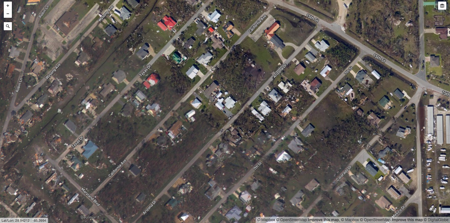 After: Mexico Beach, Fla.- Trees and homes are flattened after Michael's strong winds.