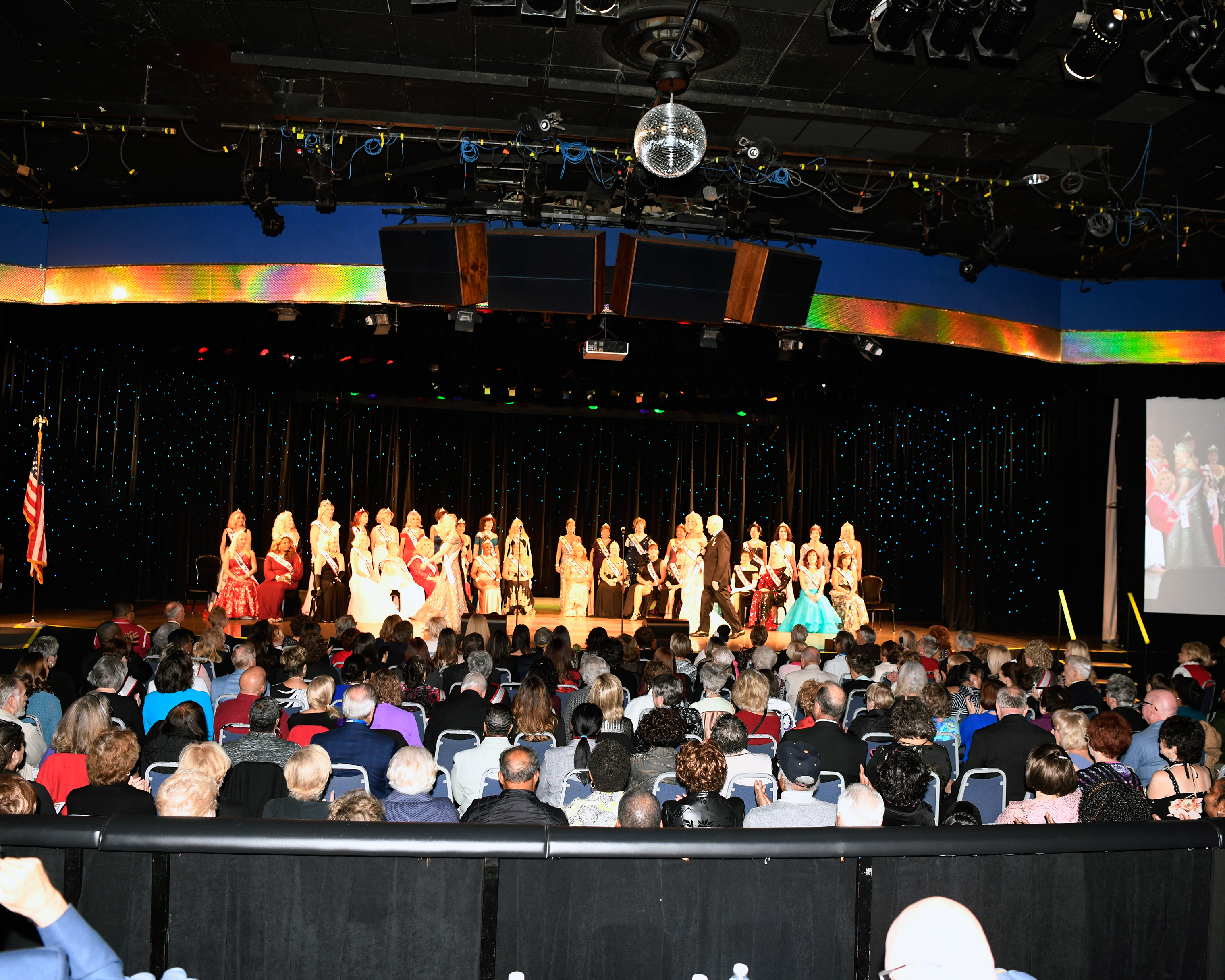 All the of the contestants line-up before the top 10 finalists are announced at the Ms. Senior America Pageant in Atlantic City, N.J. on Oct. 18, 2018.