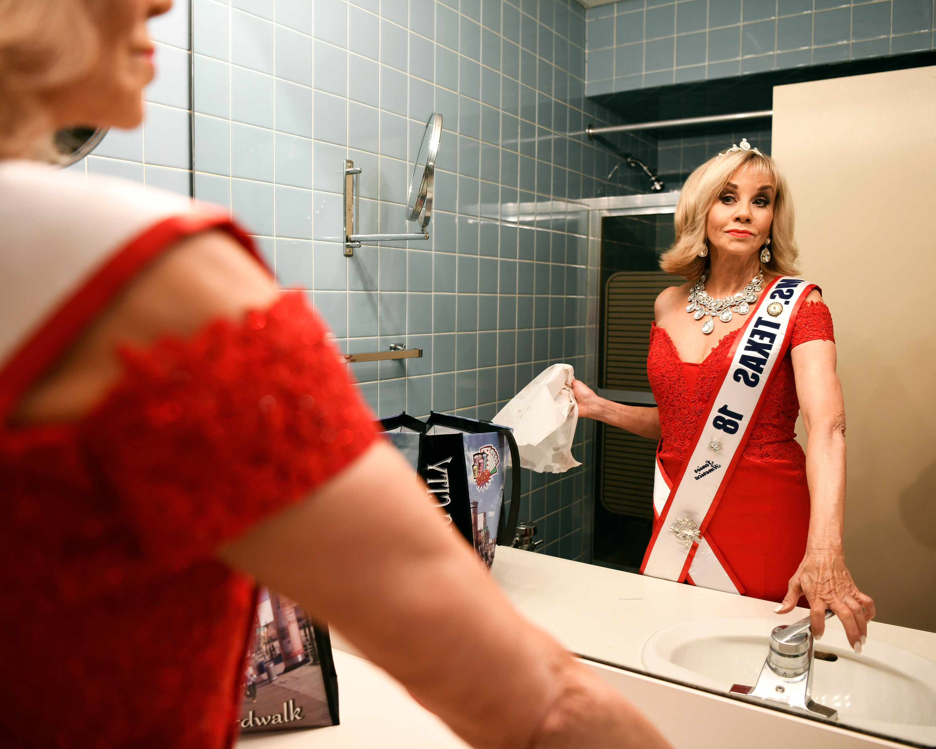 Sherry Dodson, Ms. Texas, prepares before the Ms. Senior America Pageant finale on Oct. 18, 2018.