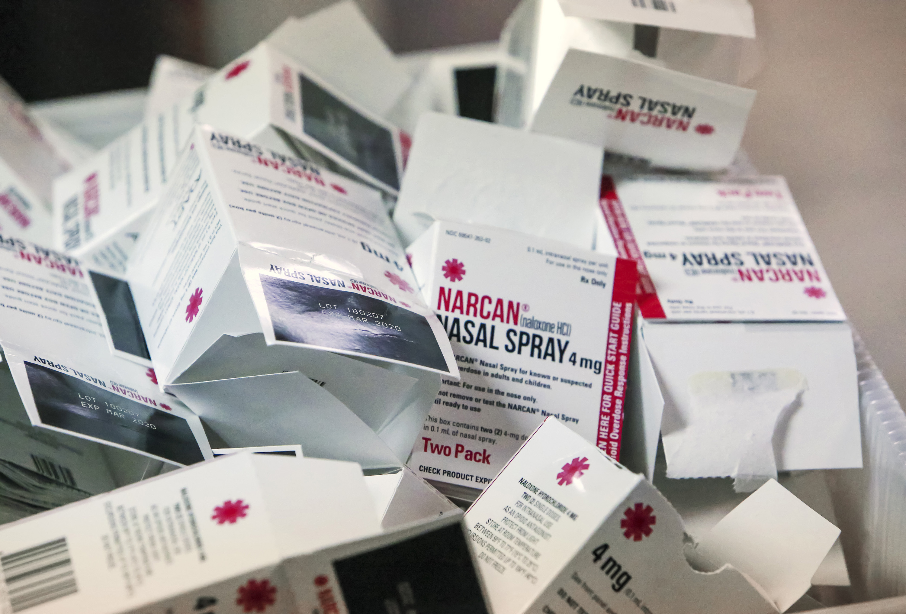 Empty boxes of Narcan gather in a pile in Mount Dora, Fla., on October 17, 2018.