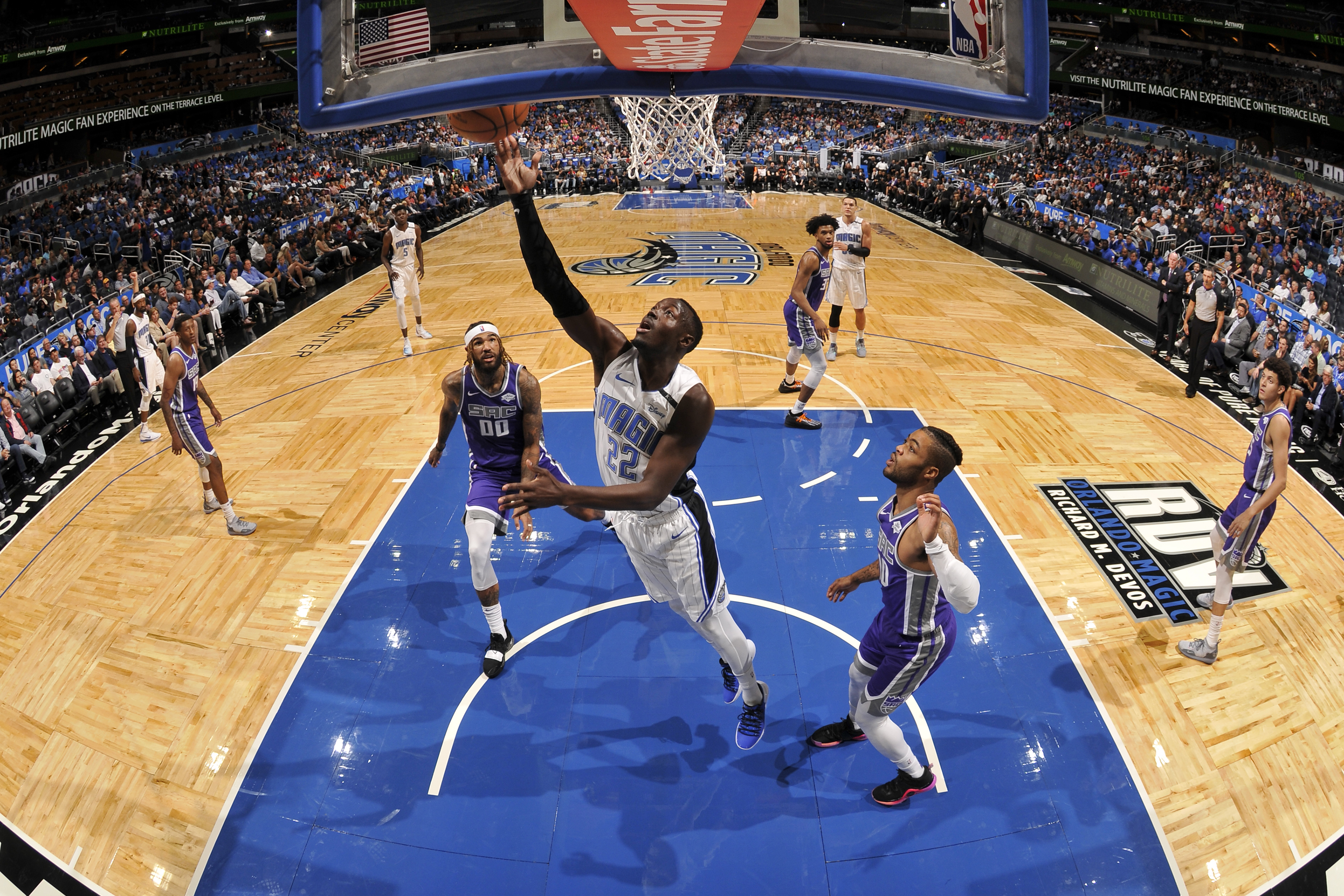 Jerian Grant of the Orlando Magic drives to the basket against the Sacramento Kings on Oct. 30, 2018 at Amway Center in Orlando, Florida.