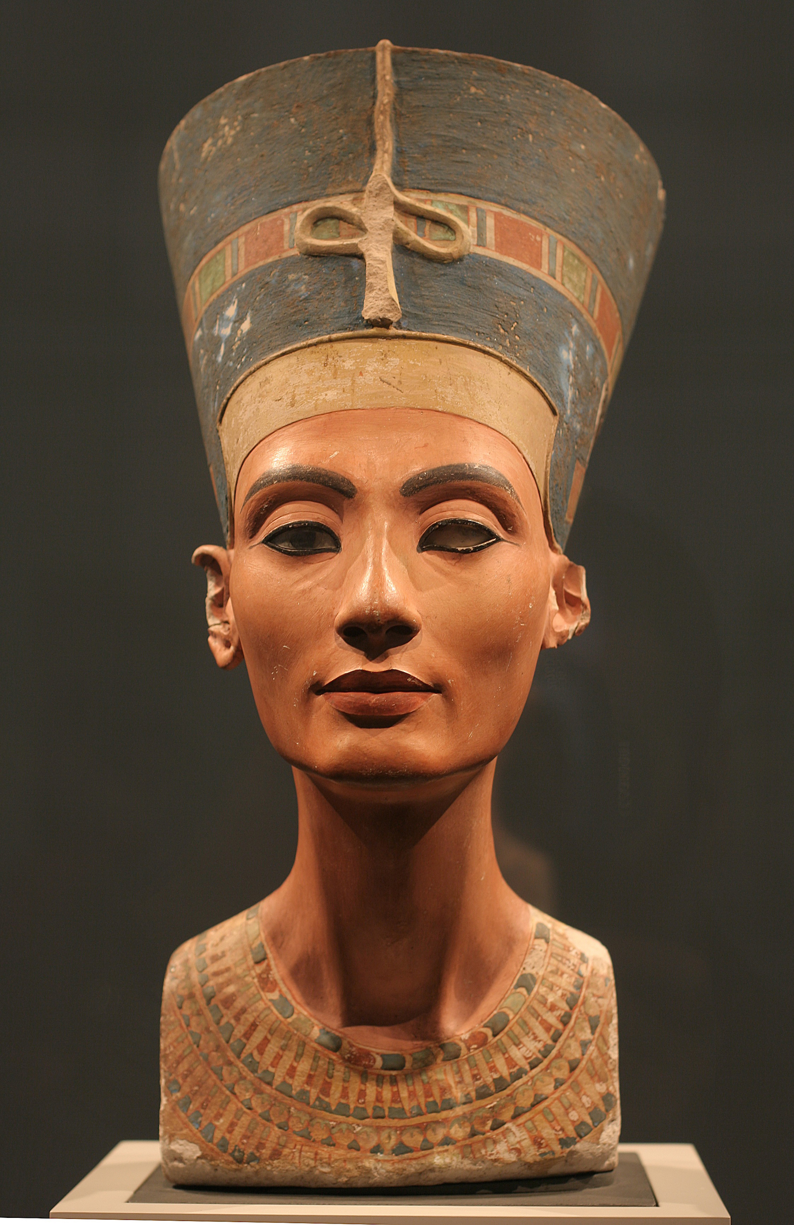 The Nefertiti Bust, ca 1350 BC. Found in the collection of the Staatliche Museen, Berlin.