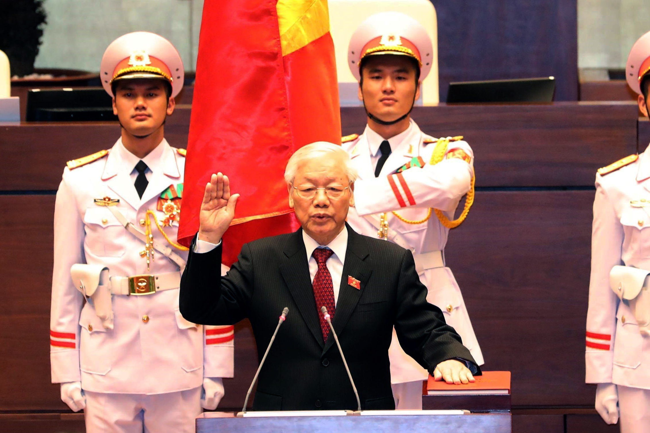 Vietnam communist party chief Nguyen Phu Trong takes oath as country's president at the National Assembly hall in Hanoi on October 23, 2018.