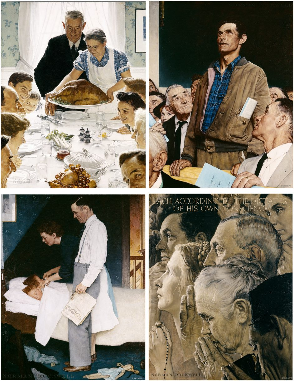 "Norman Rockwell's  Four Freedoms  illustrations, originally published in The Saturday Evening Post. Clockwise from top left  ""Freedom From Want""; ""Freedom of Speech""; ""Freedom of Worship""; and ""Freedom From Fear"" (1943)."
