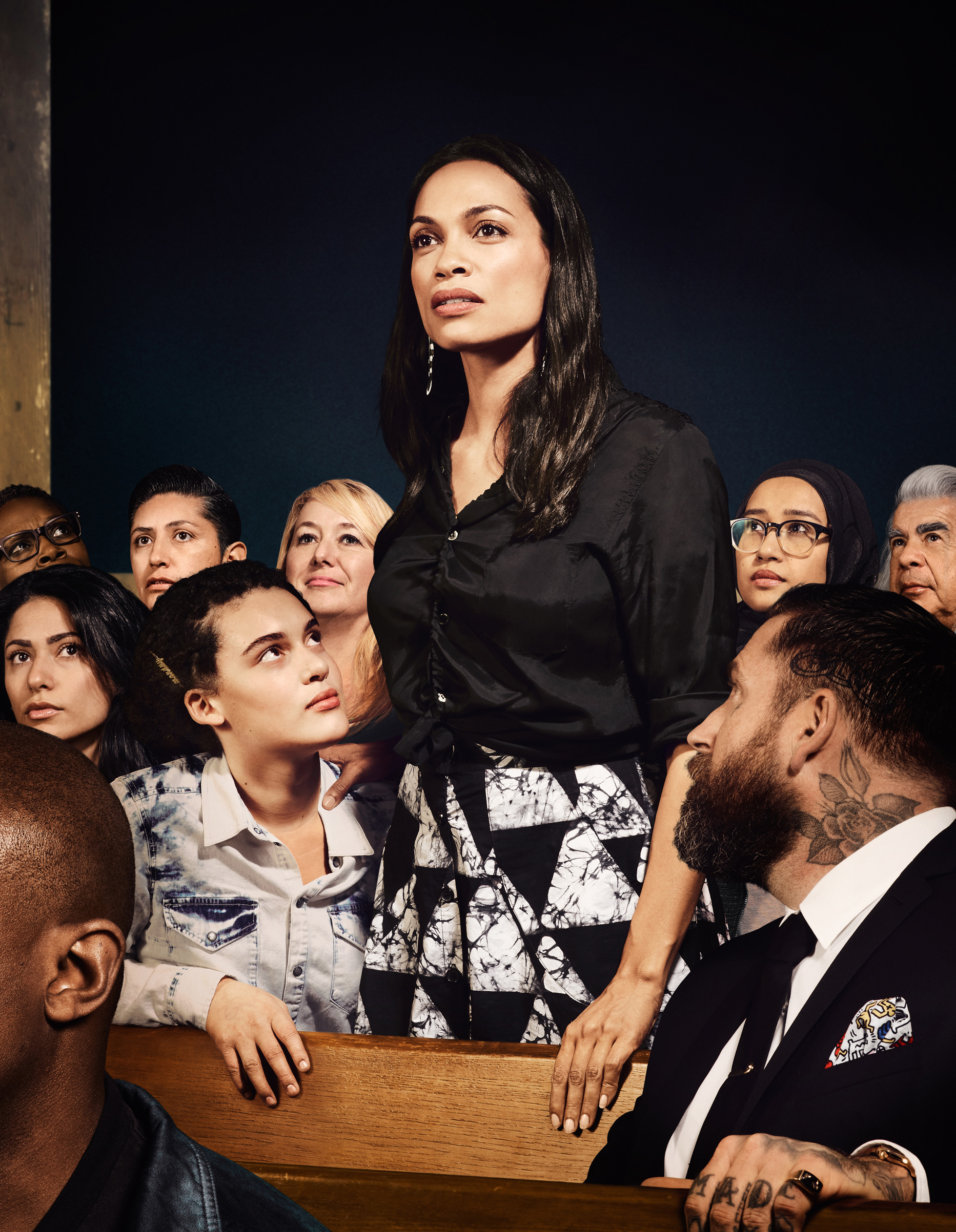 "A reinterpretation of Norman Rockwell's ""Freedom of Speech"" illustration featuring actor and activist Rosario Dawson."