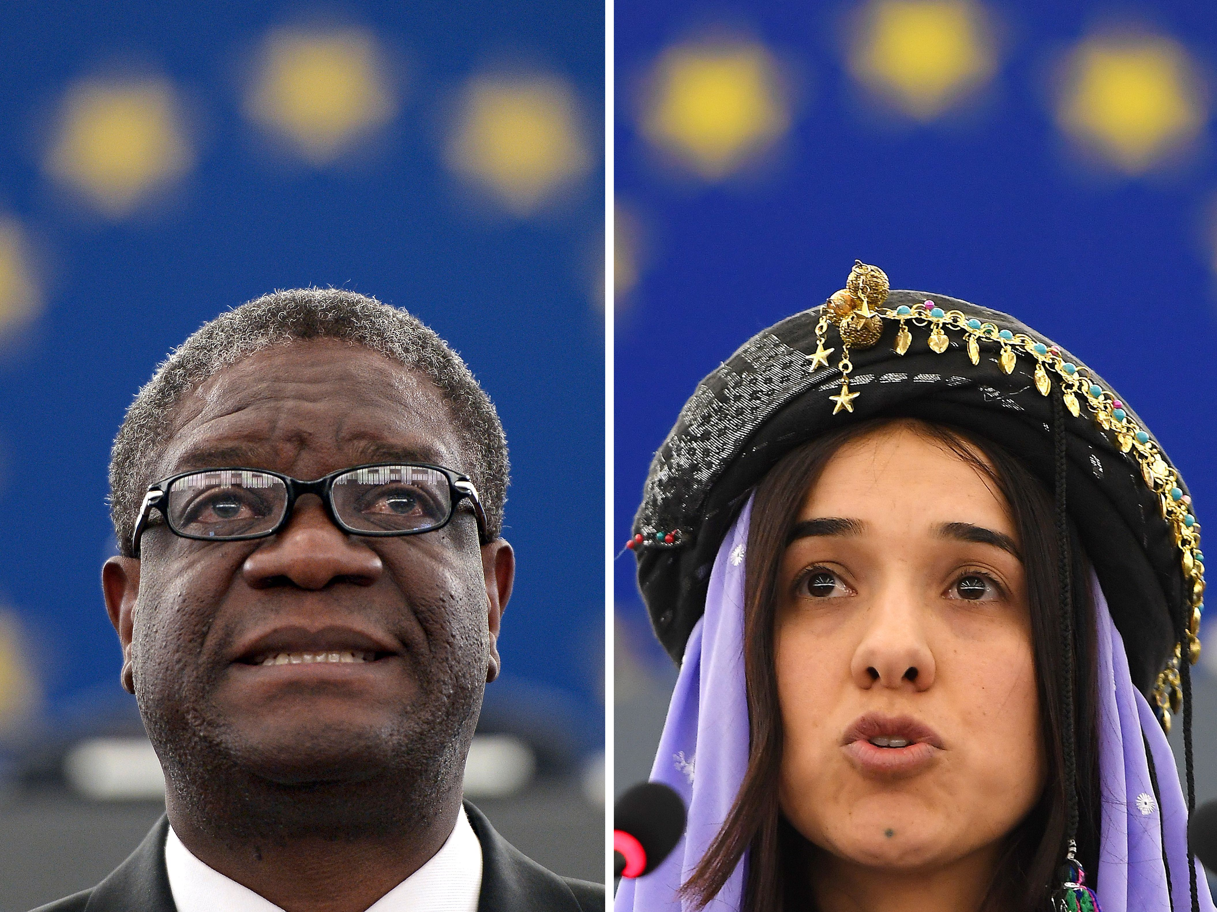 Congolese doctor Denis Mukwege on November 26, 2014 at the European Parliament in Strasbourg and Nadia Murad, public advocate for the Yazidi community in Iraq and survivor of sexual enslavement by the Islamic State jihadists, on December 13, 2016 at the European parliament in Strasbourg.