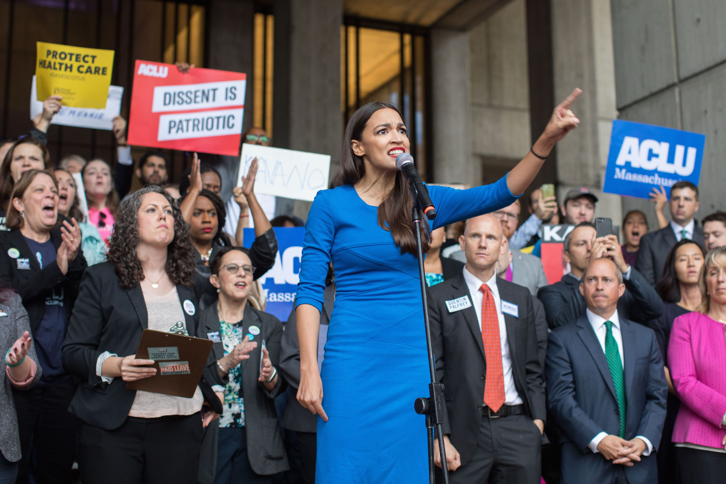 New York Democratic congressional candidate Alexandria Ocasio-Cortez speaks at a rally calling on Sen. Jeff Flake (R-AZ) to reject Judge Brett Kavanaugh's nomination to the Supreme Court on Oct. 1, 2018 in Boston.