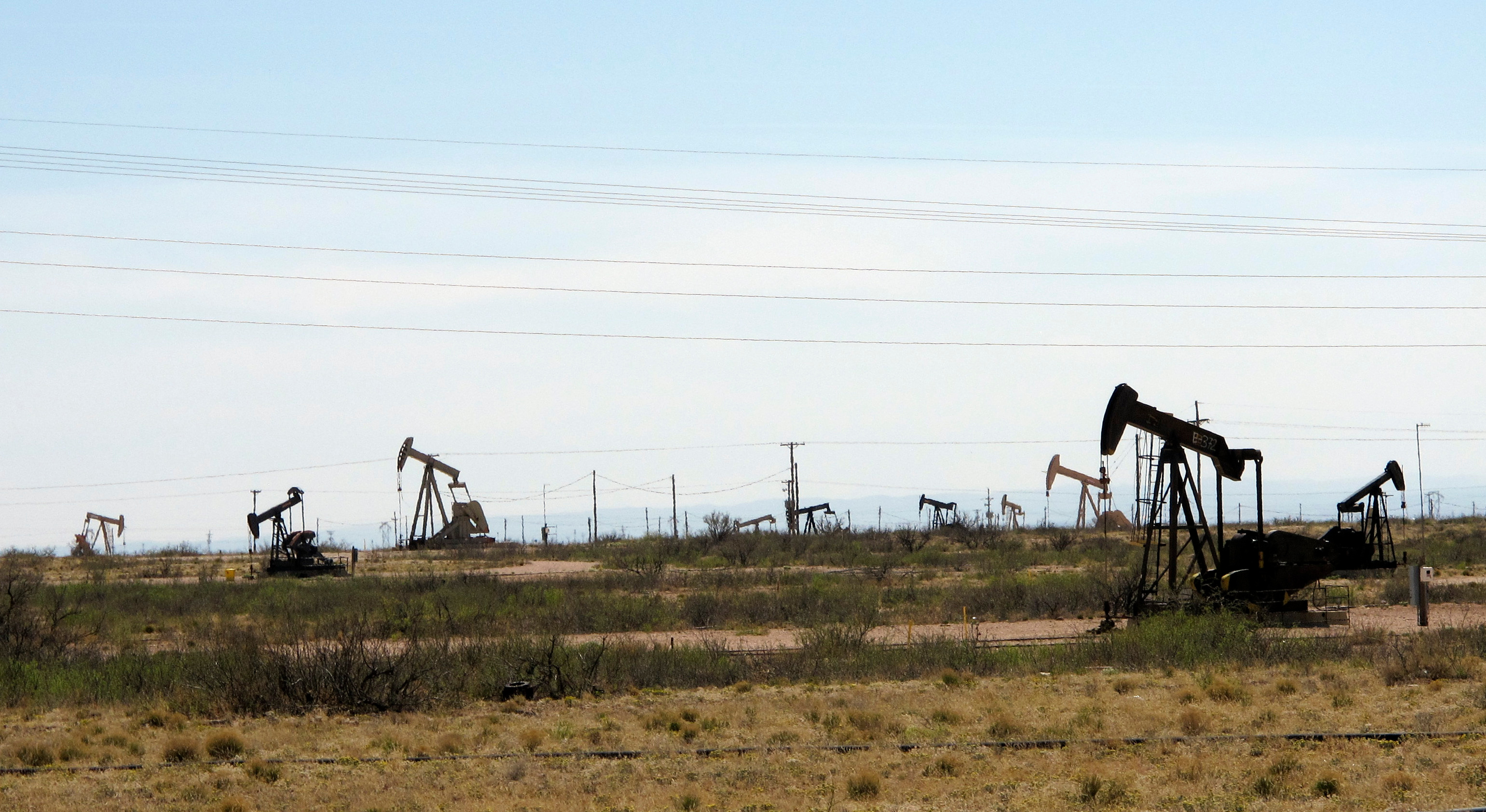 This photo shows oil rigs in the Loco Hills field in Eddy County, near Artesia, New Mexico, on April 9, 2018. This is one of the most active regions of the Permian Basin, the home of the U.S. oil boom.