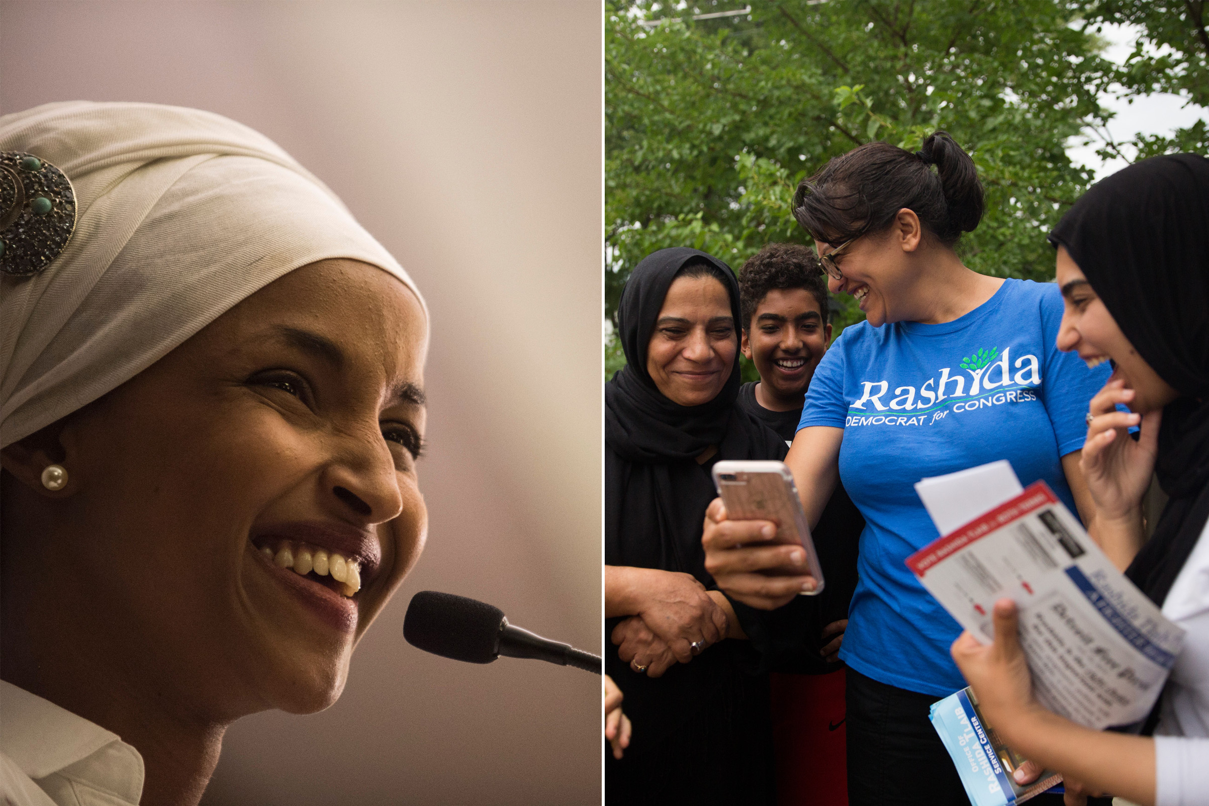 Ilhan Omar, a candidate for State Representative for District 60B in Minnesota, gives an acceptance speech on election night, November 8, 2016 in Minneapolis, Minnesota. Omar, a refugee from Somalia, is the first Somali-American Muslim woman to hold public office; Rashida Tlaib shares a moment with her supporters on the campaign trail.