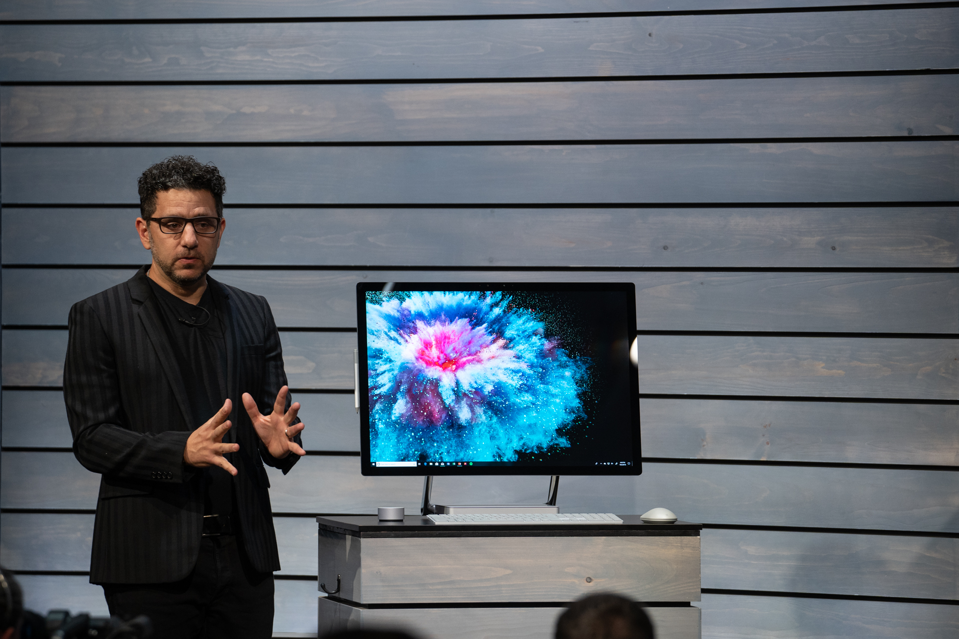 Microsoft Chief Product Officer Panos Panay revealing the Surface Studio 2 PC.