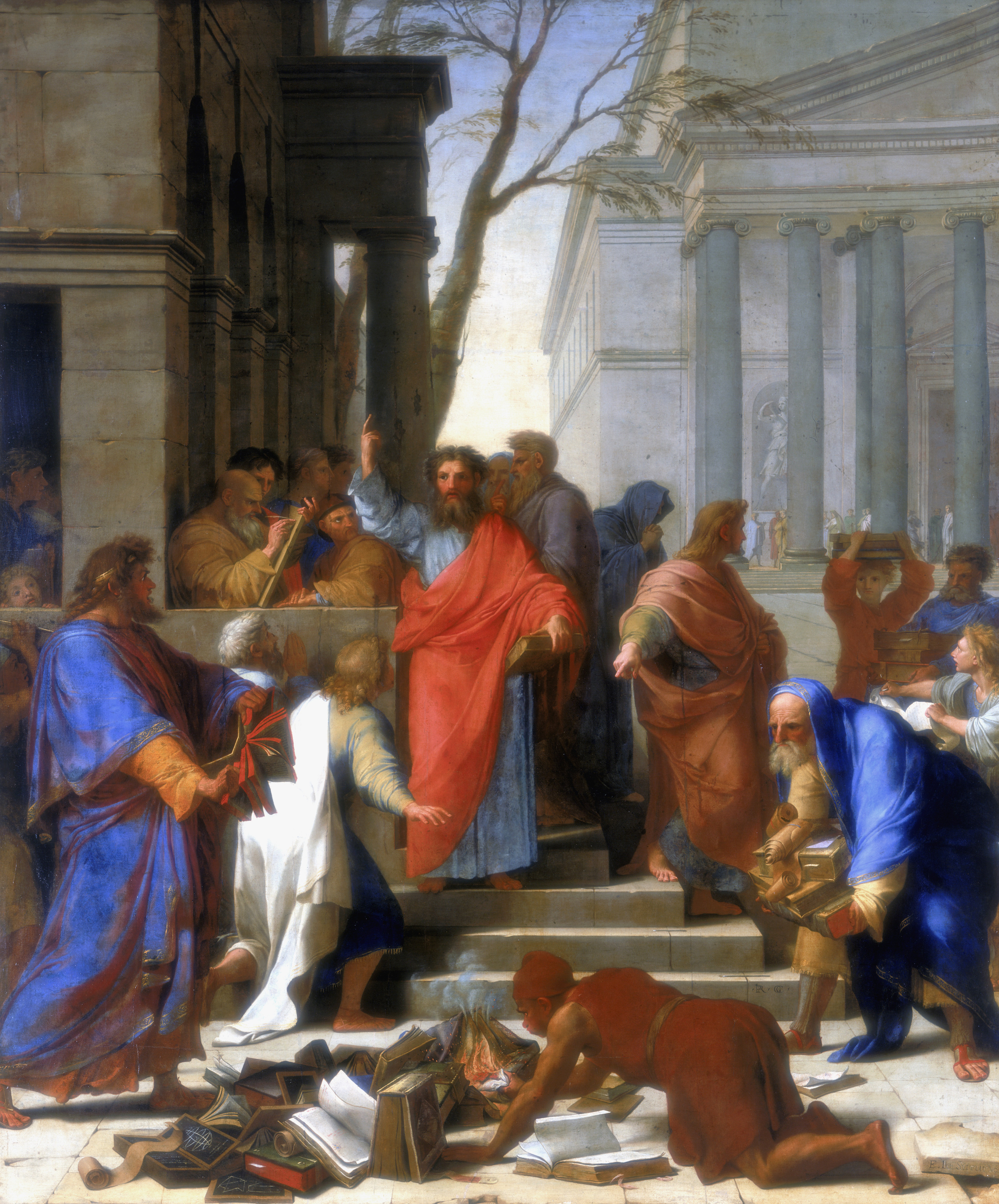'Saint Paul Preaching at Ephesus' by Eustache Le Sueur, 1649. Located in the collection at the Louvre, Paris.
