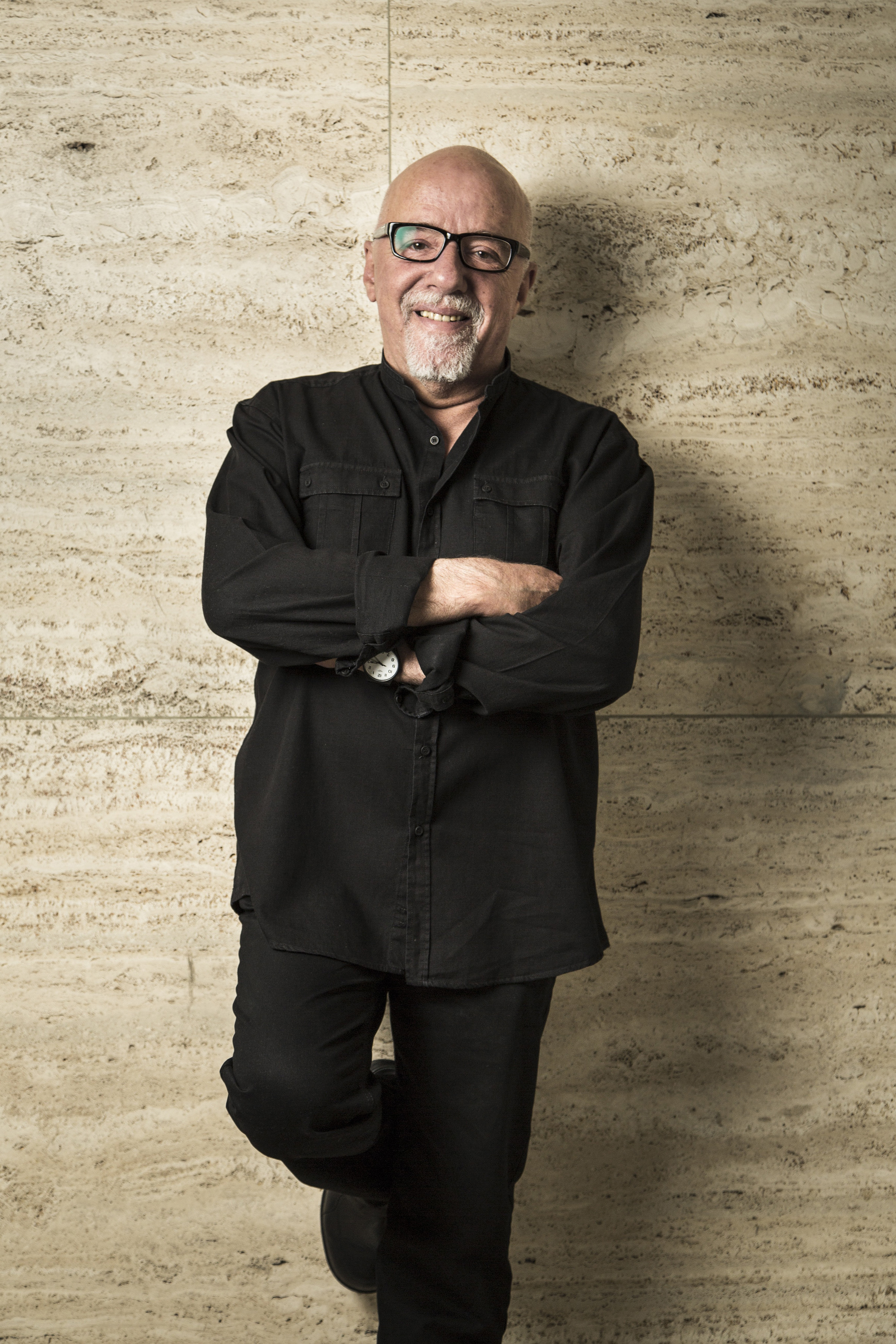 Brasilian writer Paulo Coelho photographed in the building where he lives in Geneva, Switzerland.