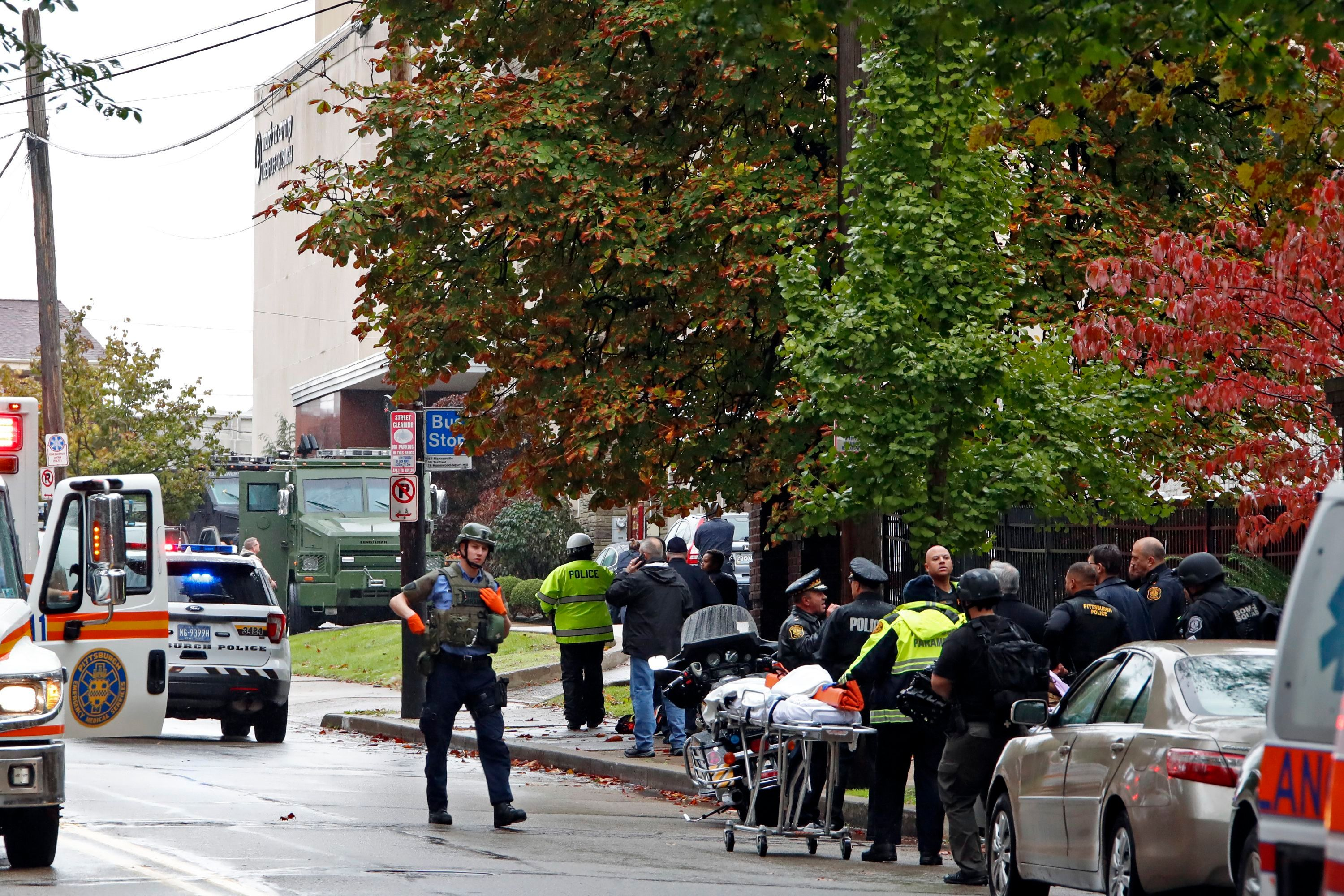 First responders surround the Tree of Life Synagogue where a shooter opened fire.