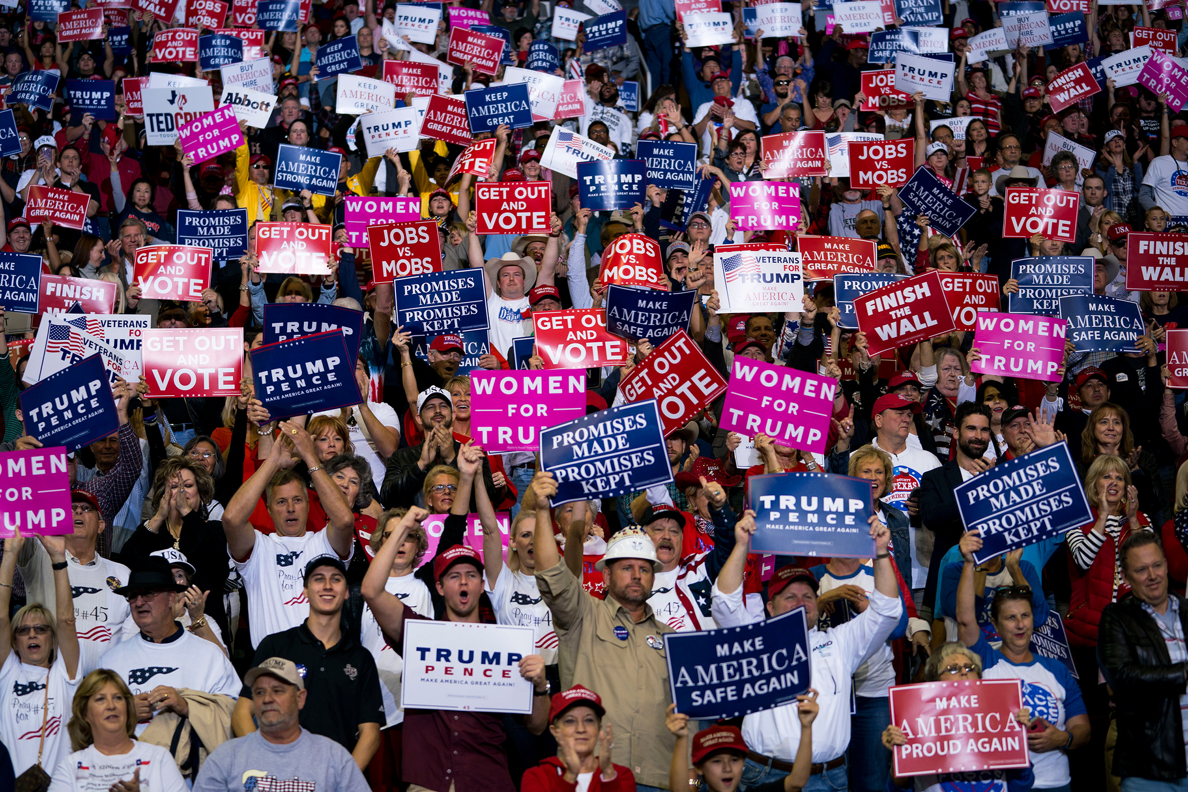 Supporters of President Donald Trump during a campaign rally for Sen. Ted Cruz in Houston, Oct. 22, 2018.