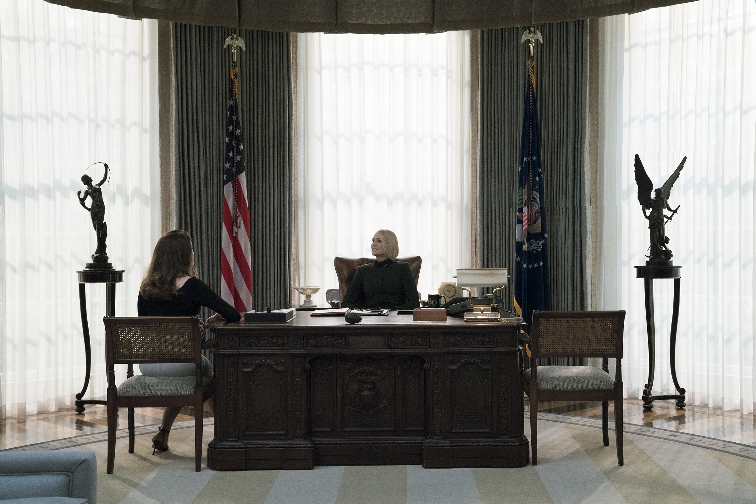 Robin Wright's Claire Underwood assumes the presidency on House of Cards but still has to live in her husband's shadow