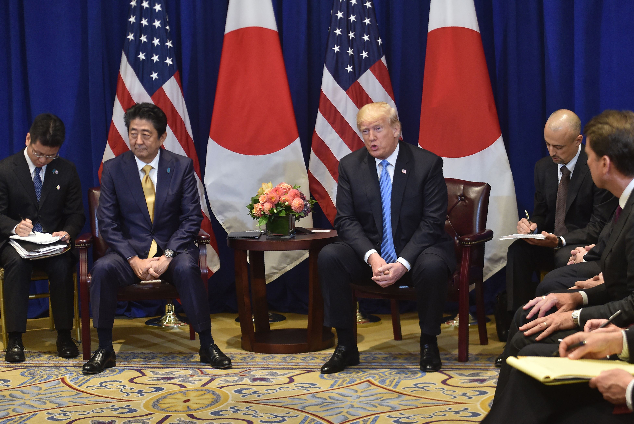 Japanese Prime Minister Shinzo Abe meets with US President Donald Trump, September 26, 2018 on the sidelines of the United Nations General Assembly (UNGA) in New York.