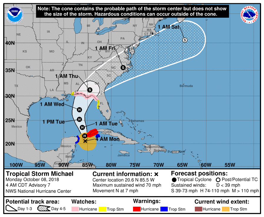 Tropical sStorm Michael is moving north at around 7mph as of 5am EST.