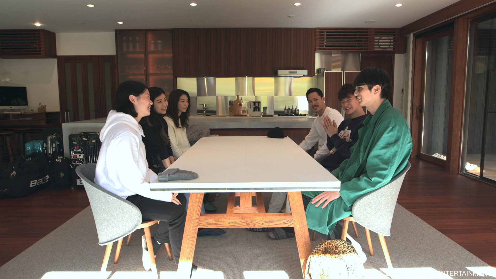 Tsubasa Sato (front left) and Shion Okamoto with the cast of Terrace House: Opening New Doors