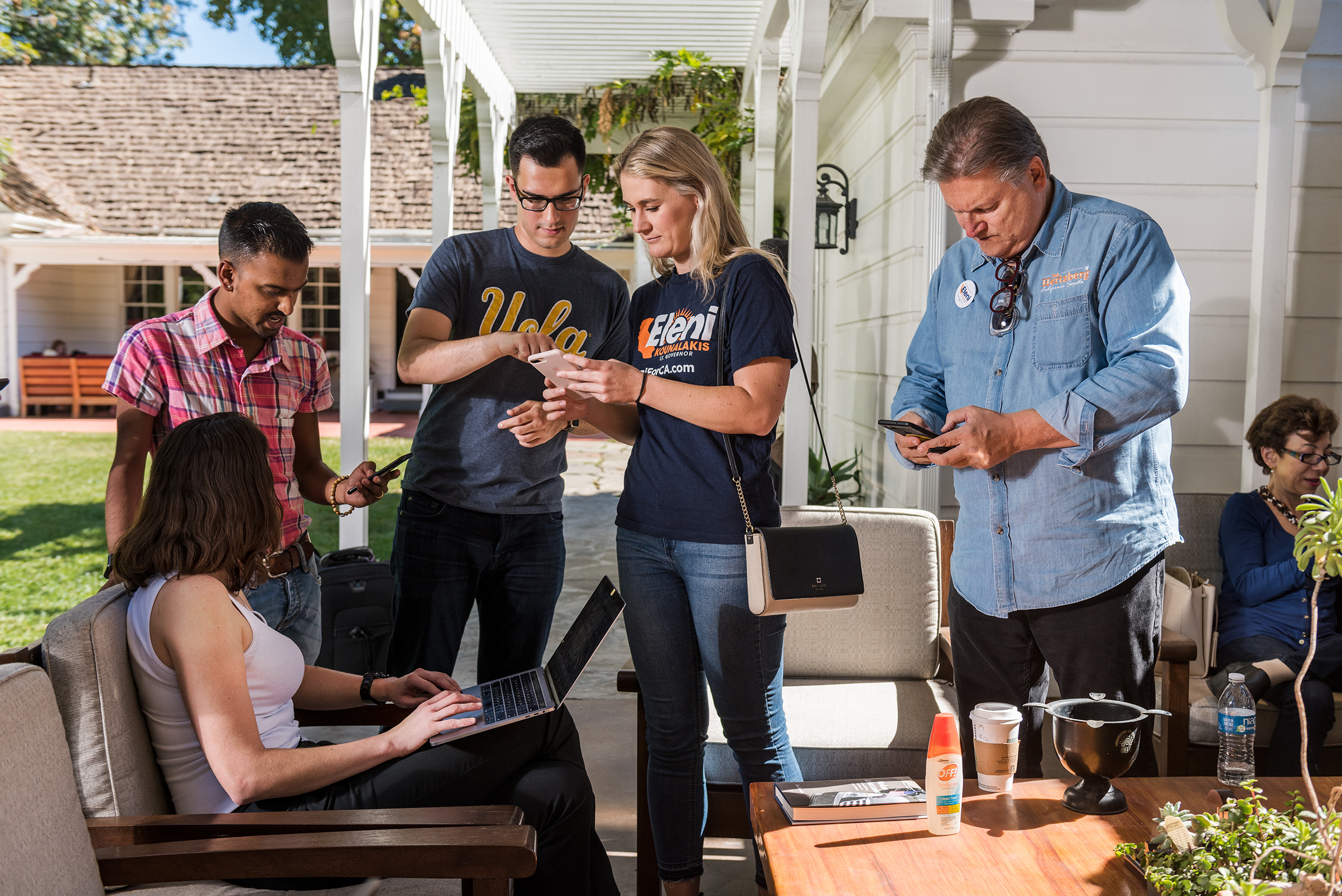 Volunteers attend a political  text bank  for California lieutenant governor candidate Eleni Kounalakis in Van Nuys, Calif., at the home of state Senator Robert Hertzberg on Oct. 20, 2018.