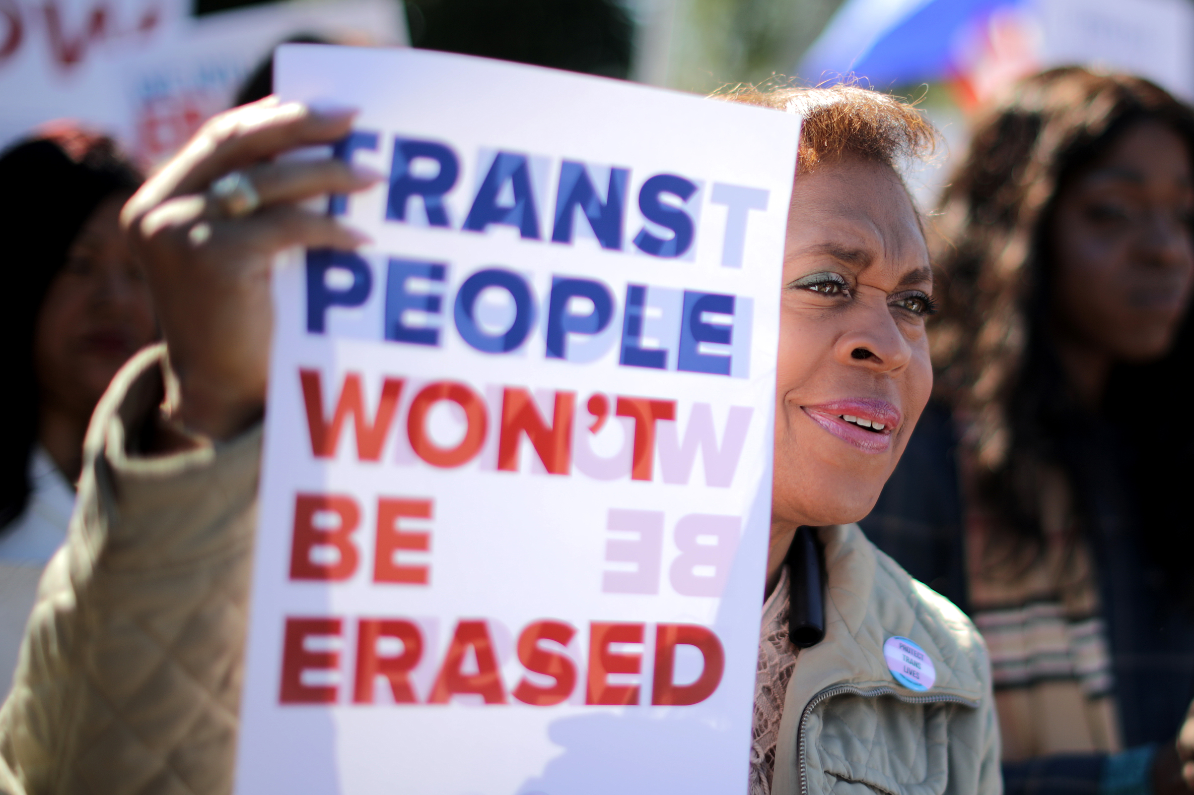 Activists from the National Center for Transgender Equality, partner organizations and their supporters rally in front of the White House Oct. 22, 2018 in Washington, D.C.