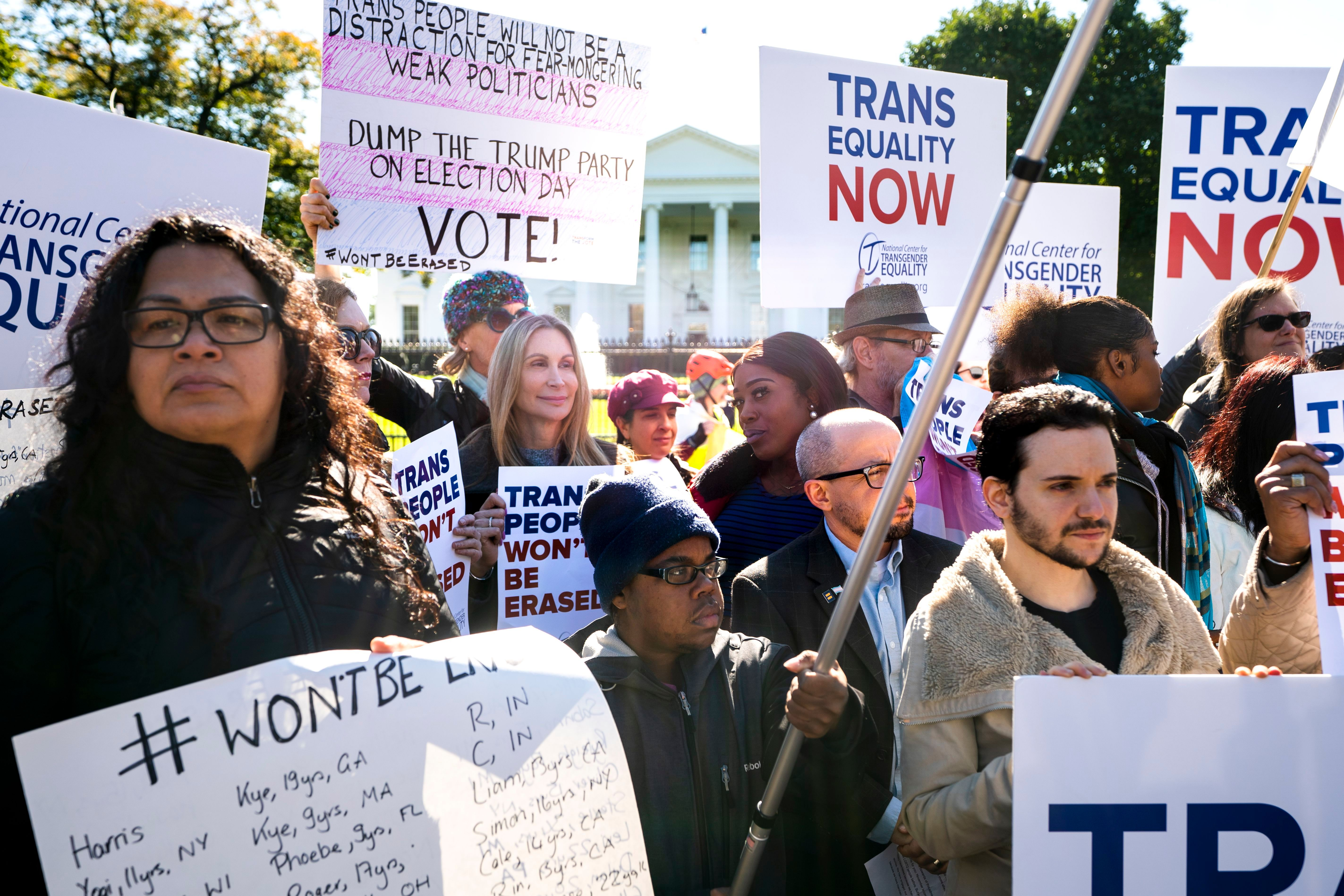 A group of activists outside the White House last October protesting for trans rights