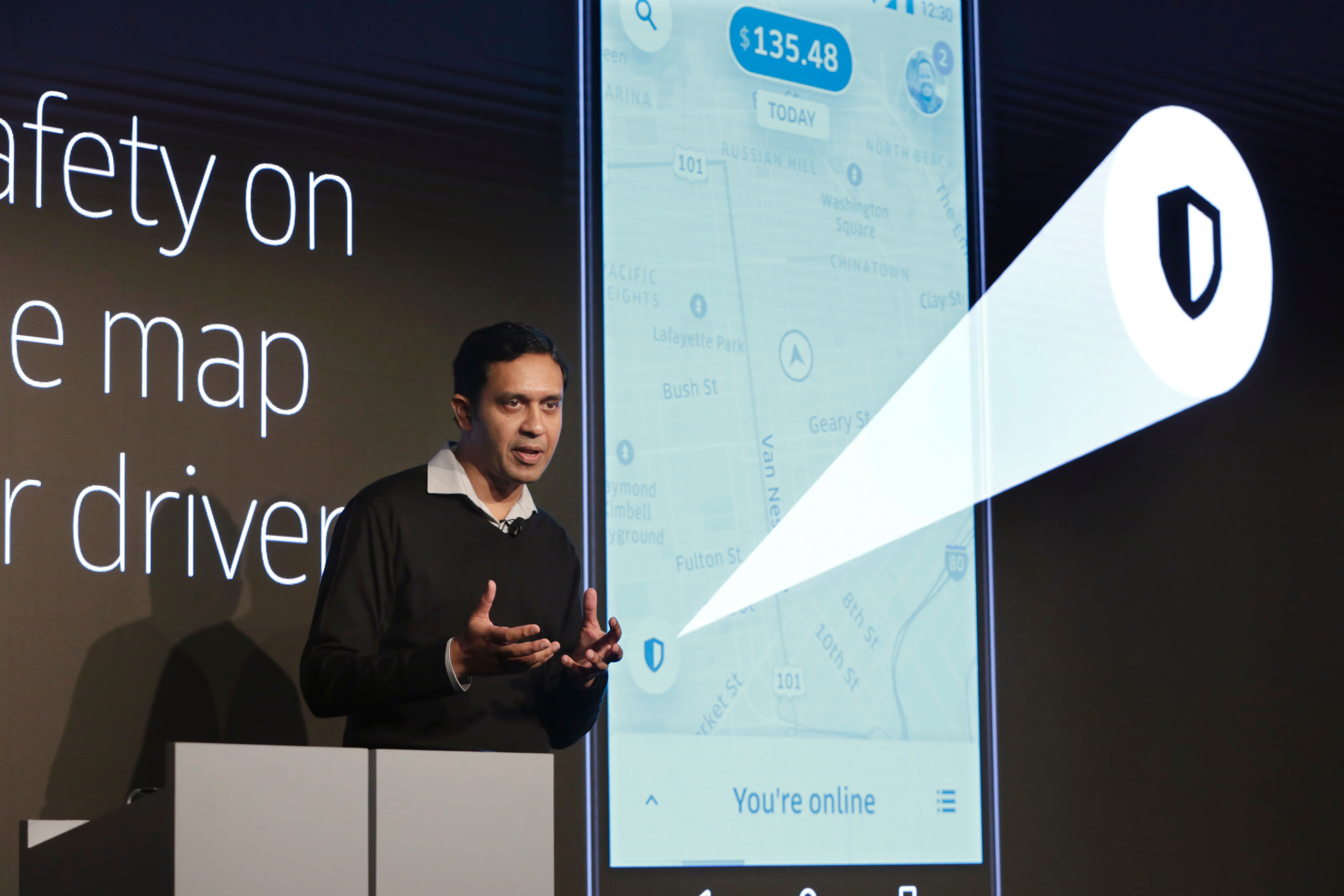 Uber Director of Product Management Sachin Kansal speaks during the company's unveiling of new features in New York, on Sept. 5, 2018.