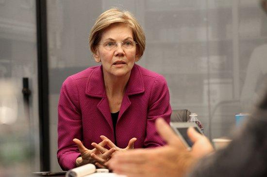 Senator Elizabeth Warren Speaks To Boston Globe Editorial Board