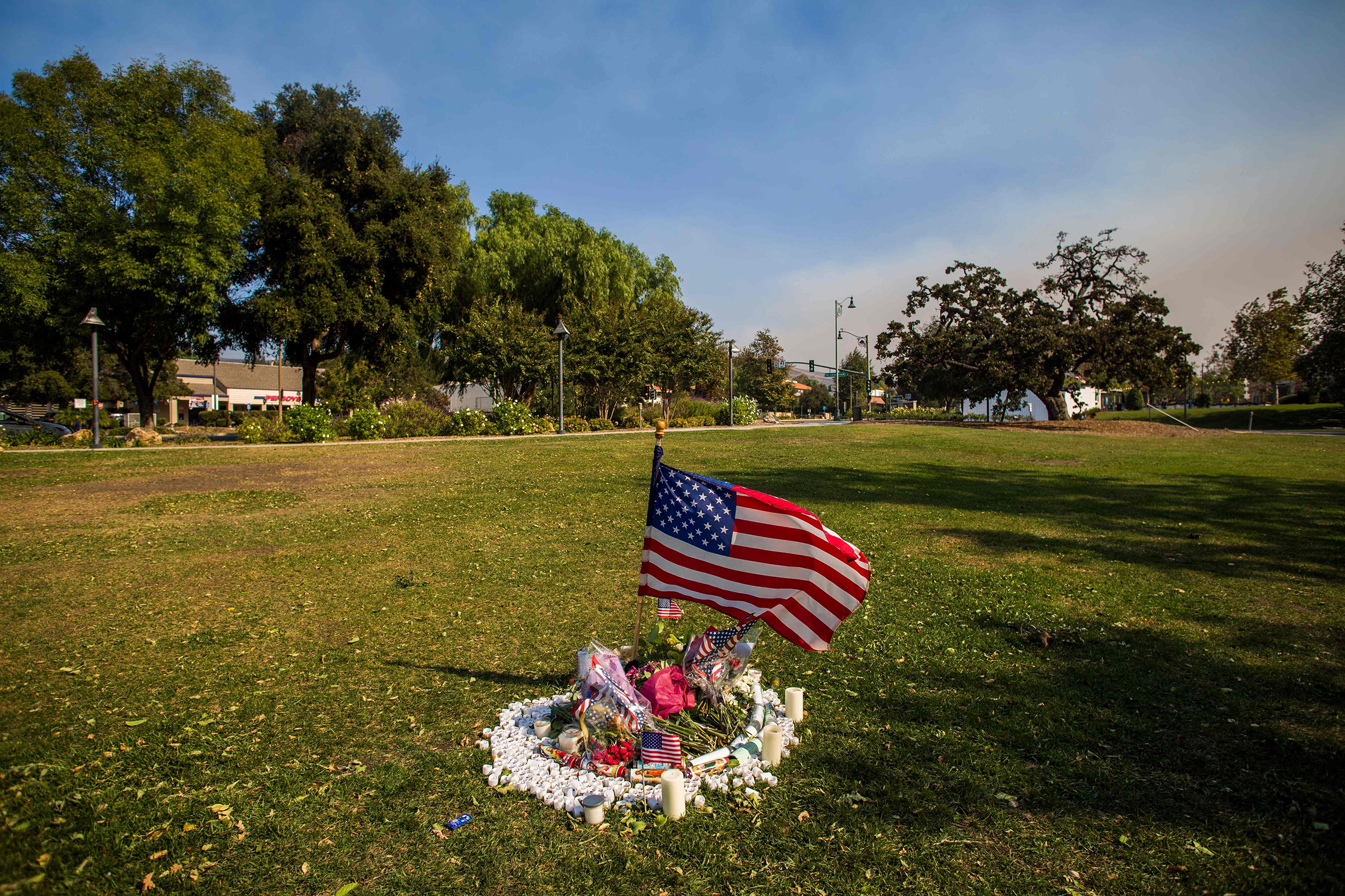 A memorial for the victims of the Thousand Oaks shooting