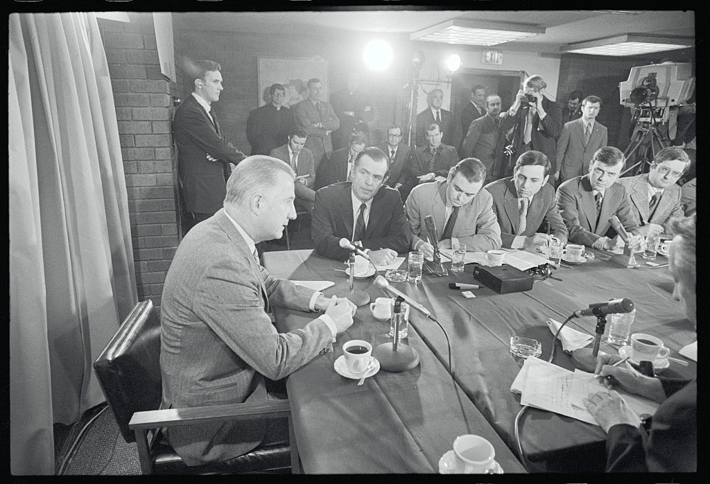 Vice President Spiro Agnew meets with members of the Massachusetts news media in the wake of a speech criticizing the news media, on March 19, 1971, in Newton, Mass.