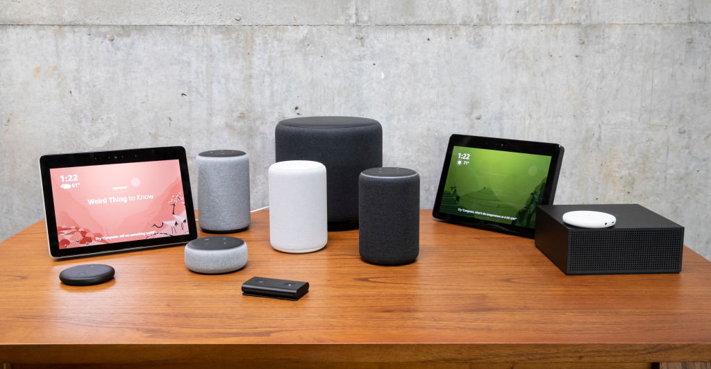 An assortment of newly launched devices, including, an  Echo Input,   Echo Show,  Echo Plus,   Echo Sub,   Echo Auto  and  Firetv Recast  are pictured at Amazon Headquarters, follownig a launch event, on September 20, 2018 in Seattle Washington.