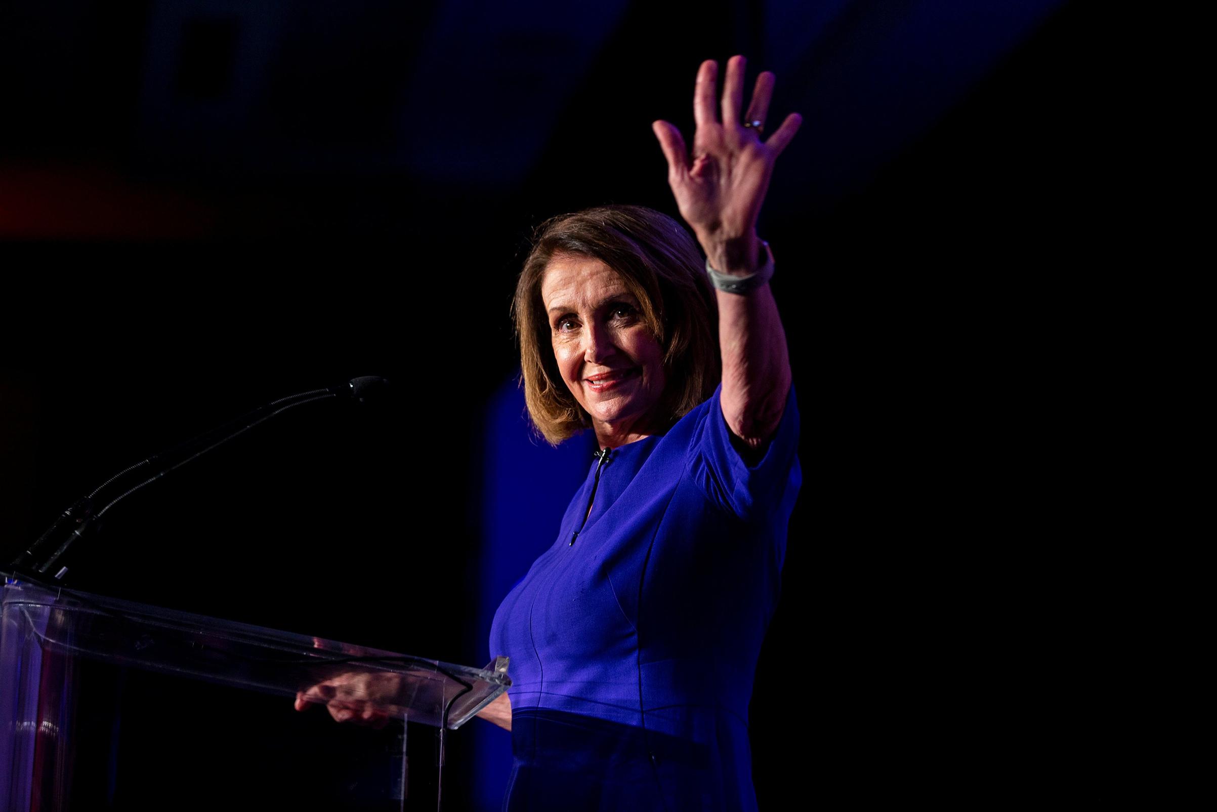 House Democratic leader Nancy Pelosi at an election-night celebration