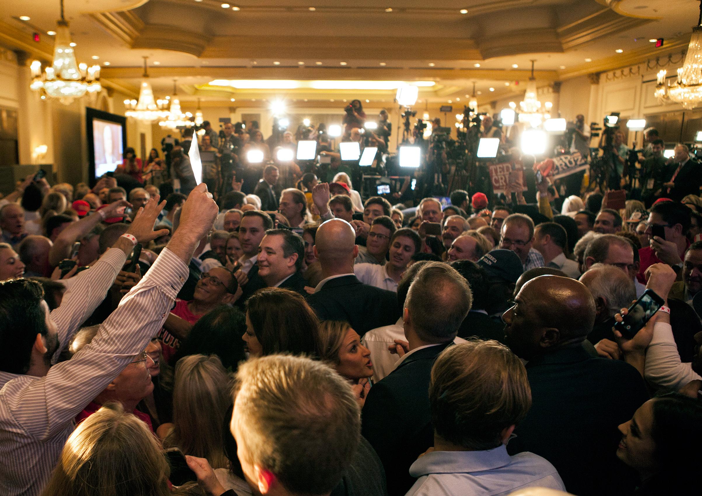 Senator Ted Cruz greets the crowd after fending off Representative Beto O'Rourke's challenge