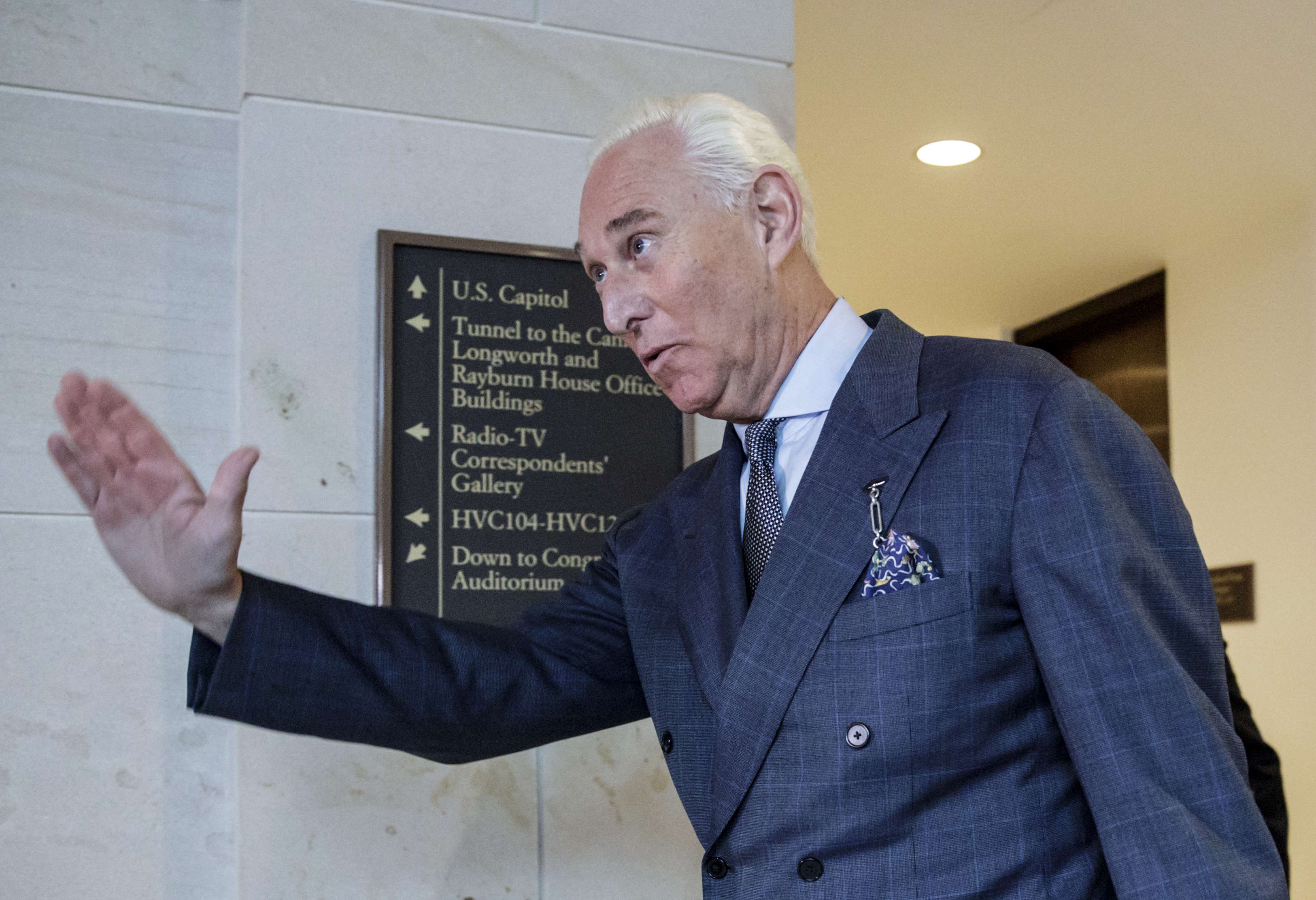 Roger Stone arrives to testify before the House Intelligence Committee, on Capitol Hill in Washington, D.C. on Sept. 26, 2017.