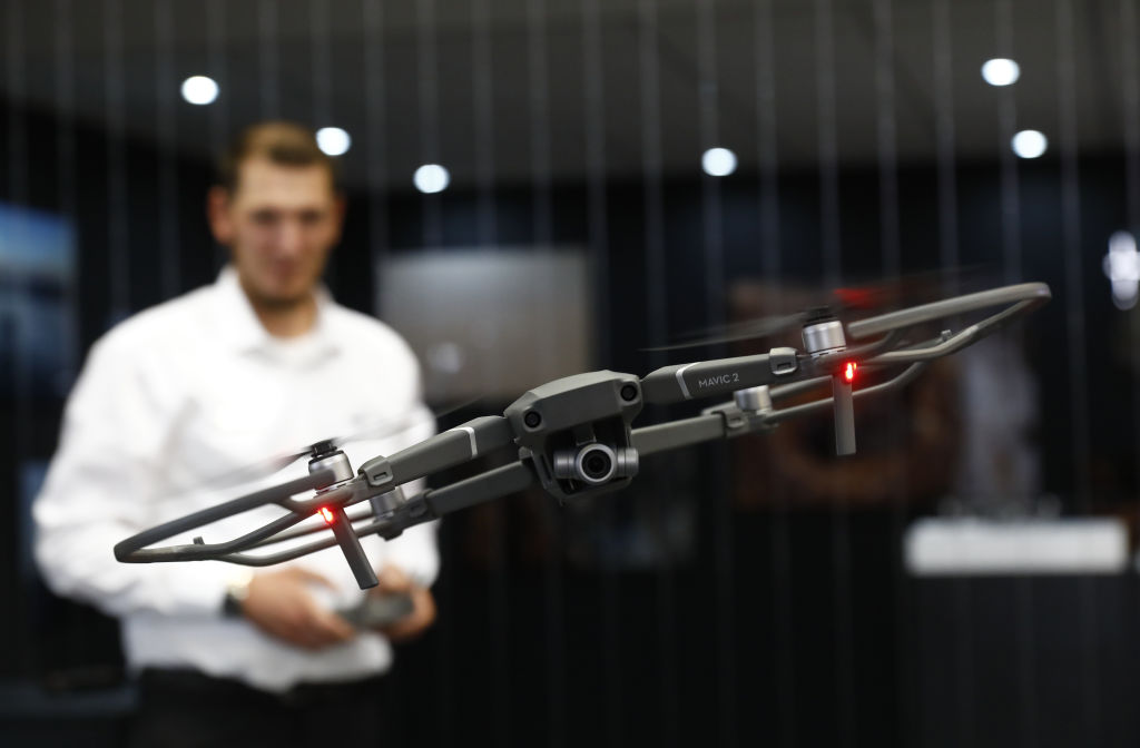 A DJI Mavic 2 Drone is shown at the 2018 IFA consumer electronics and home appliances trade fair during the fair's press day on August 30, 2018 in Berlin, Germany.