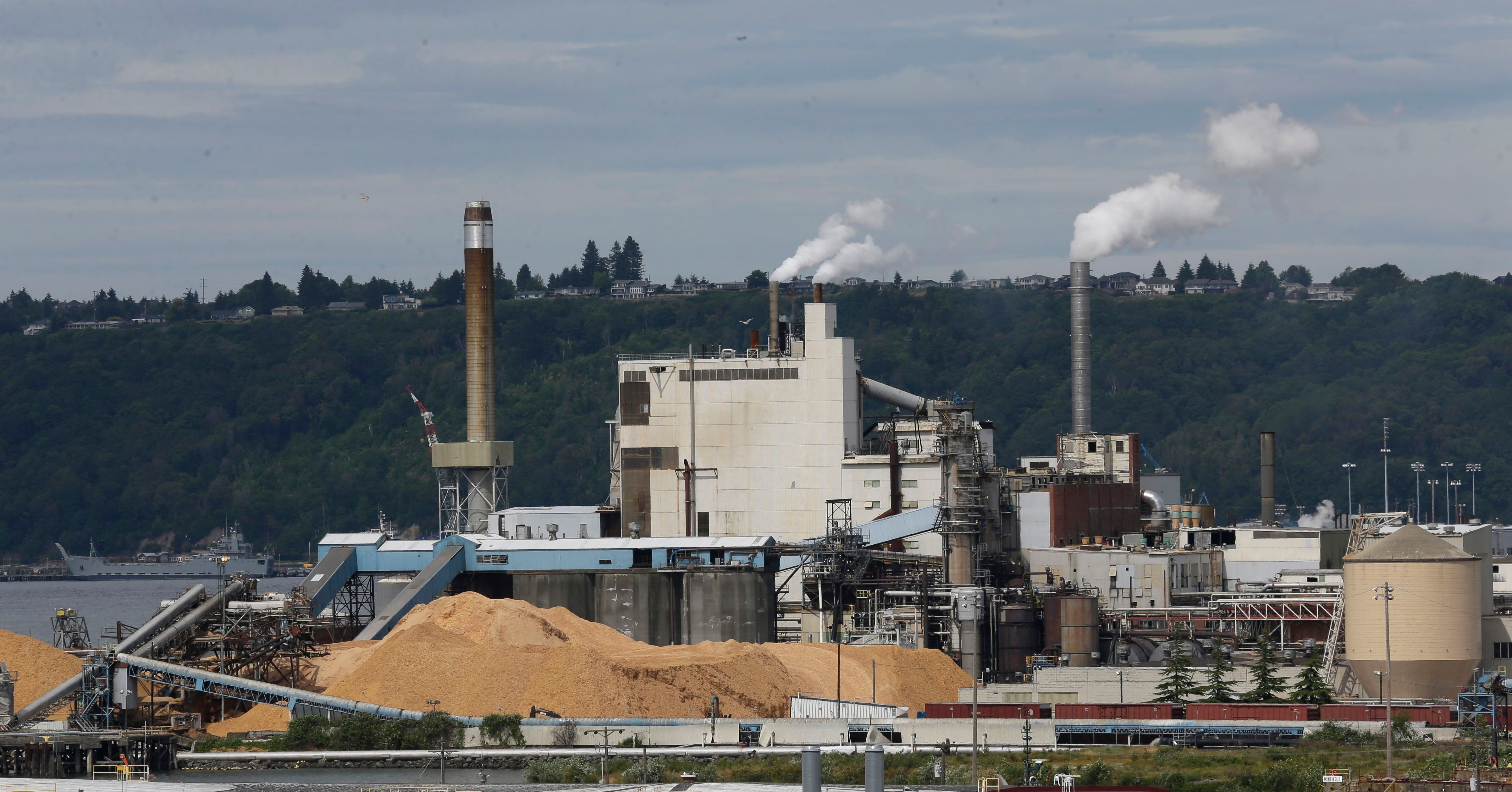 This file photo from 2016 shows piles of wood chips sit near the RockTenn paper mill, in Tacoma, Wash.