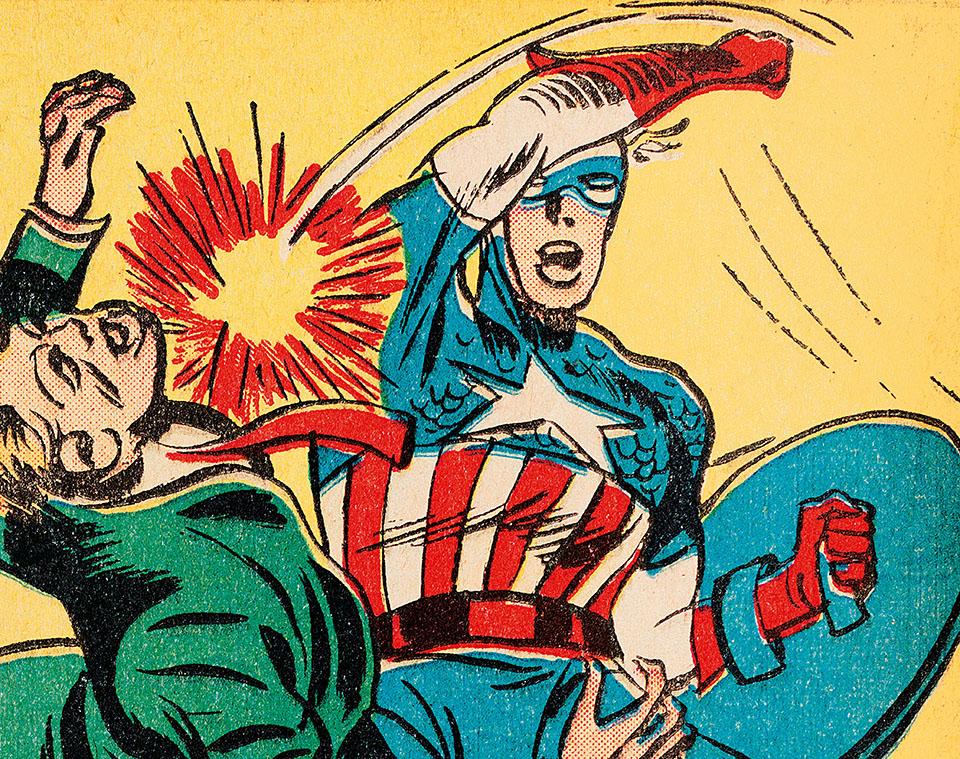 "Jack Kirby illustrated Stan Lee's inaugural Timely writing effort, the story ""Captain America Foils the Traitor's Revenge,"" which appeared in Captain America Comics No. 3."