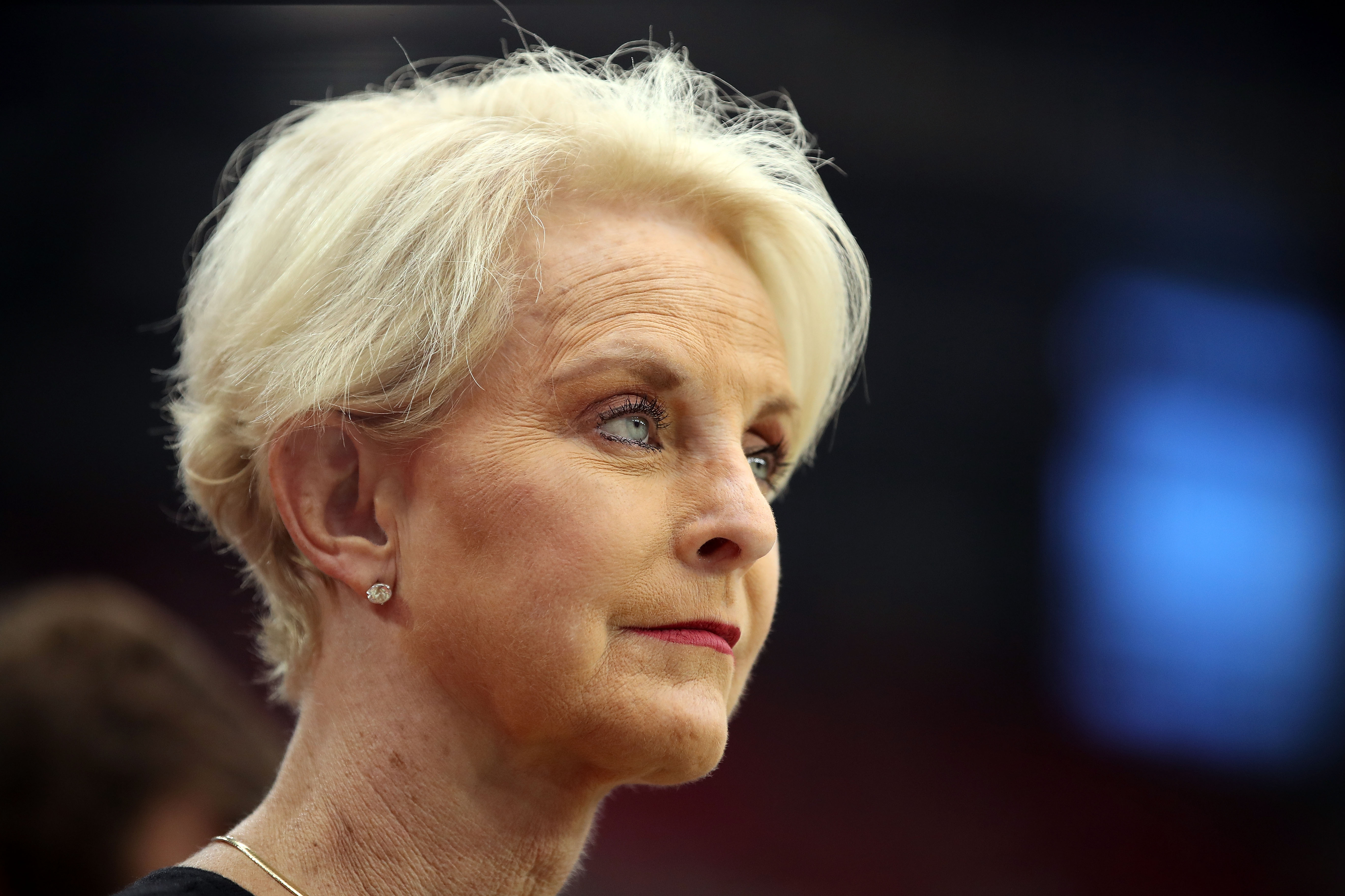 Cindy McCain, wife of the late U.S. Senator John McCain stands on the sidelines before the game between the Arizona Cardinals and the Washington Redskins at State Farm Stadium on September 9, 2018 in Glendale, Arizona.