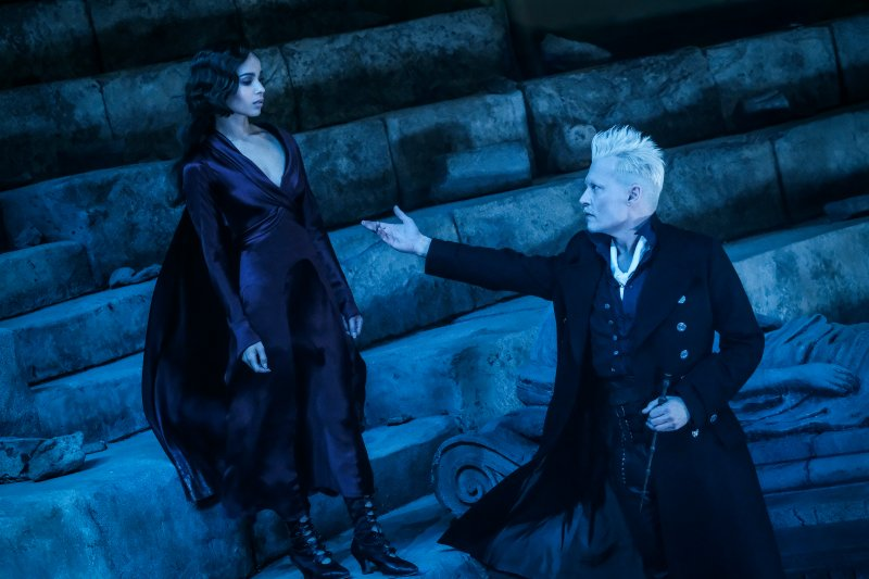 Zoë Kravitz and Johnny Depp in Fantastic Beasts: The Crimes of Grindelwald