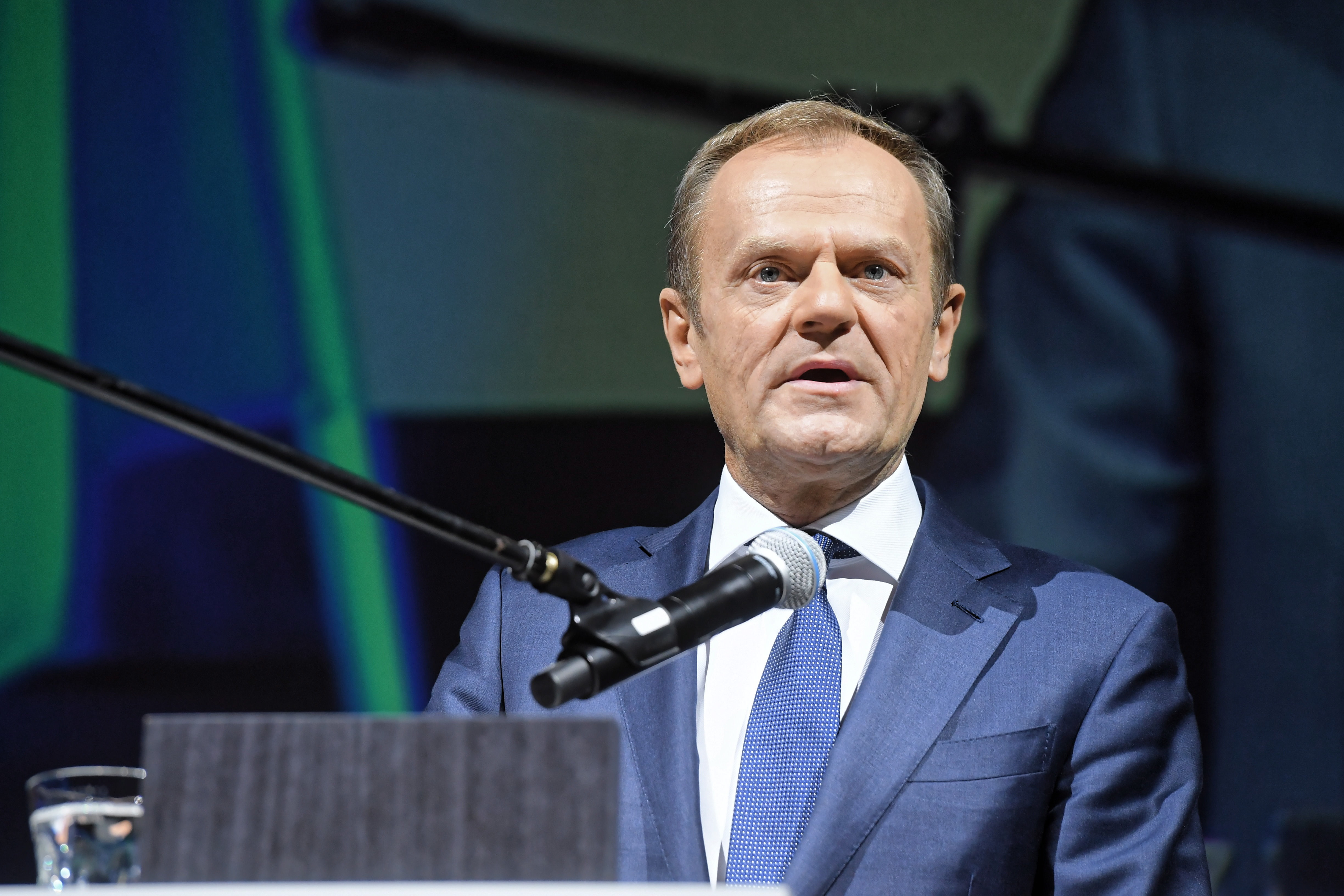 European Council President Donald Tusk delivers a speech on November 11, 2018. He warned that nationalism will be a  fundamental threat  to the European Union.