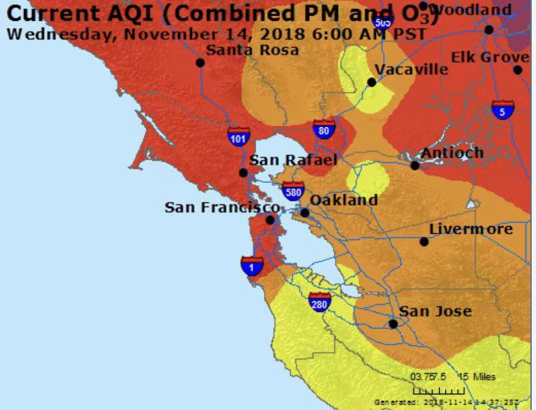 The San Francisco Department of Emergency Management released a map showing the air quality in the Bay Area two days ago. The air quality has worsened to  very unhealthy  in some parts of the Bay Area.