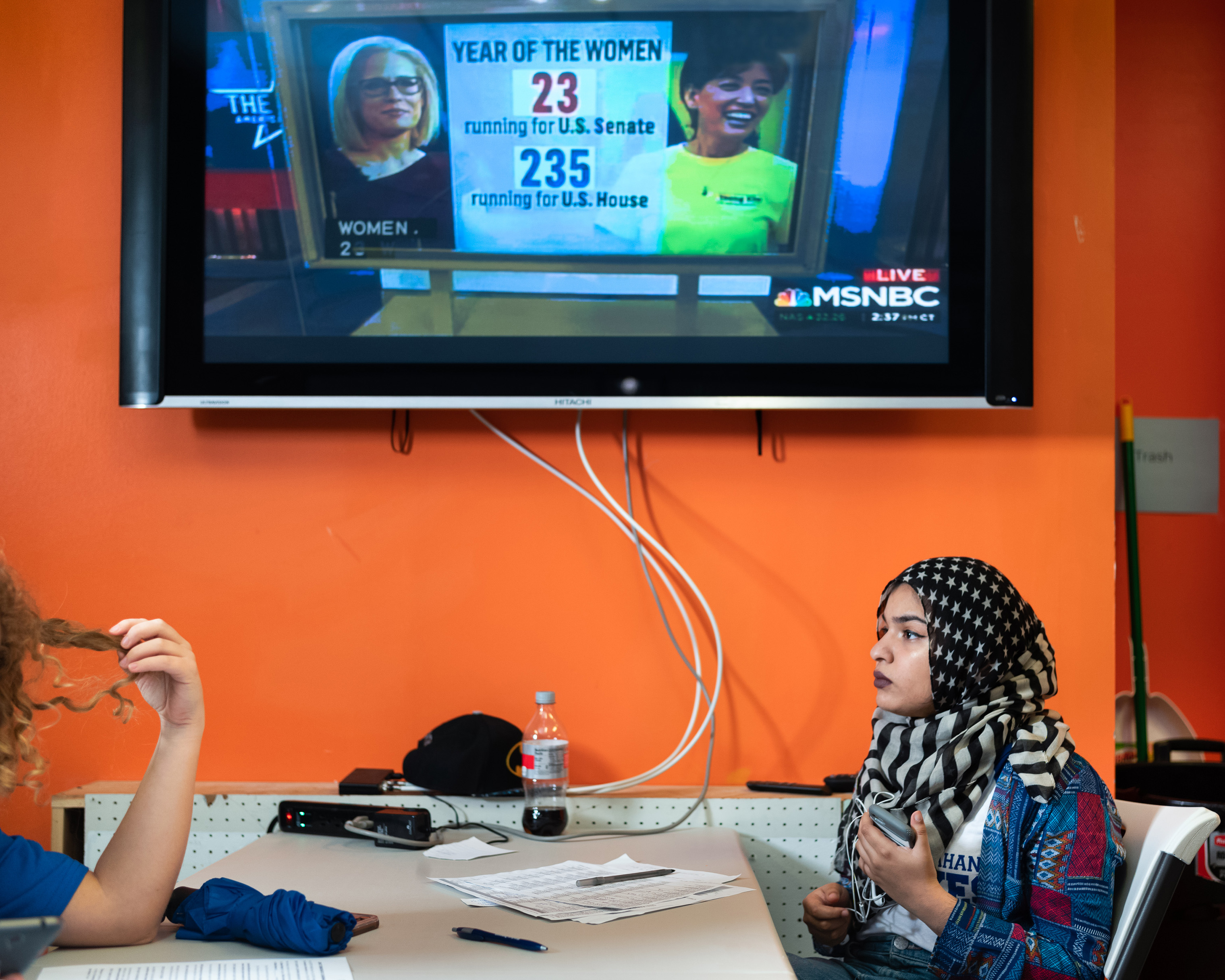 Volunteer Fizza Alam calls voters on Election Day at the Campaign Headquarters for Jahana Hayes. Hayes is poised to be the first African American Woman from New England voted to the US Congress .