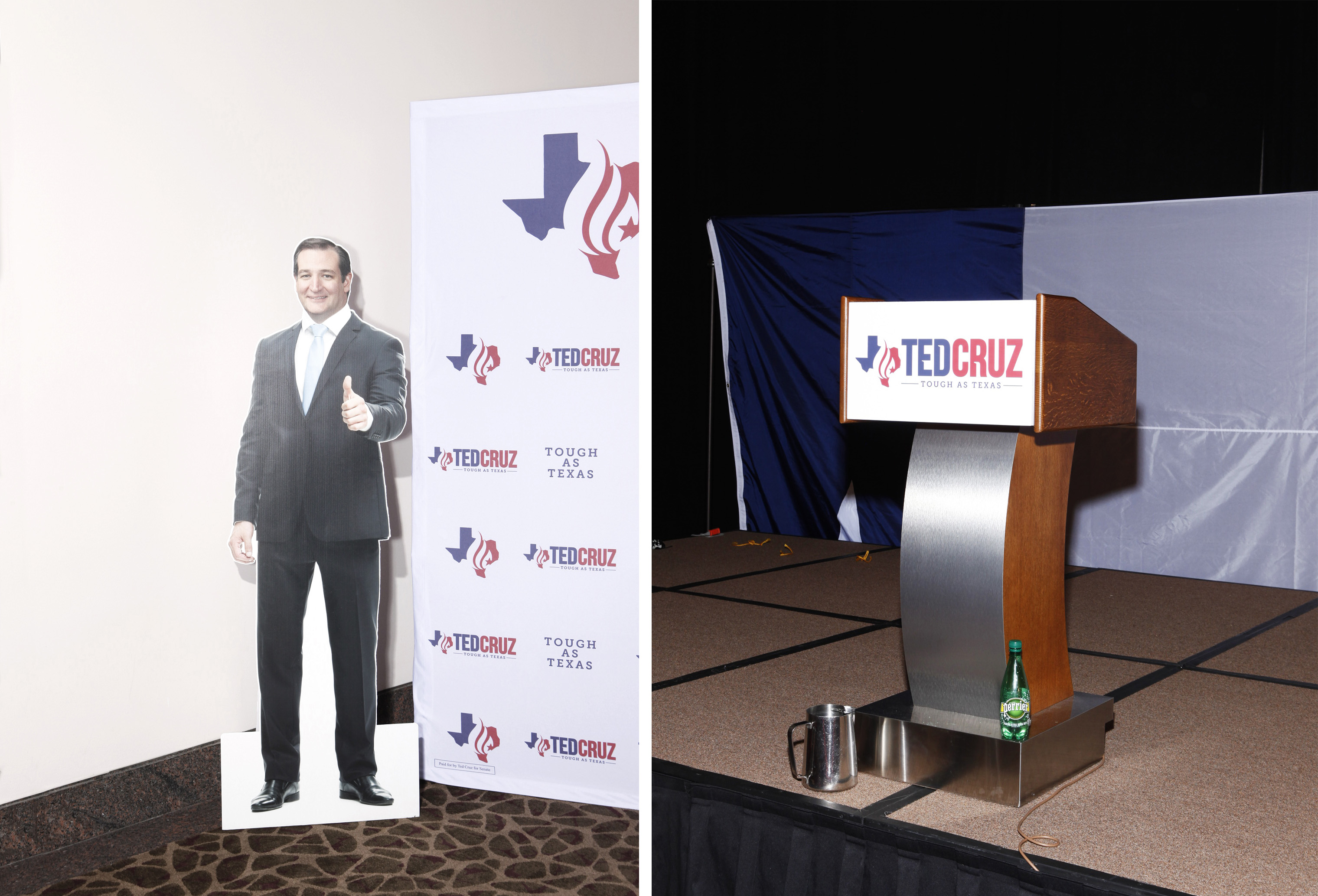 Scenes from the setup for the Election Night party for Sen. Ted Cruz in Houston.