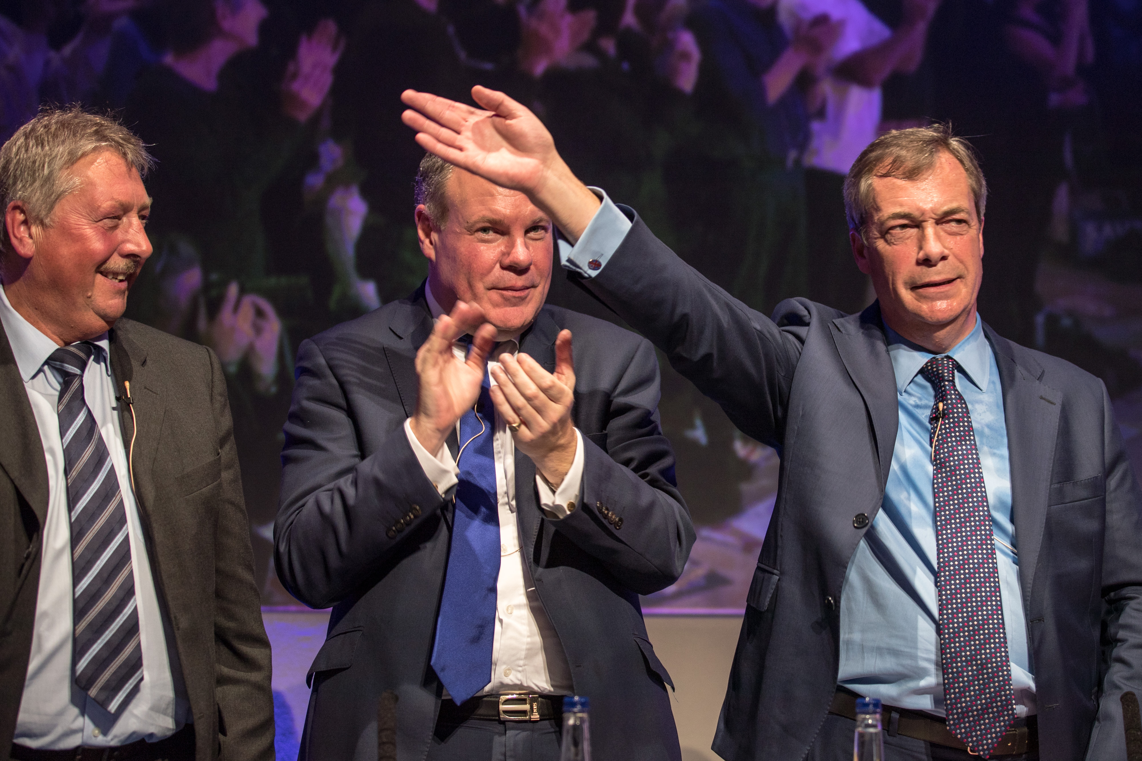 A woman went viral for rolling her eyes at Nigel Farage during a debate. (Photo by Matt Cardy/Getty Images)