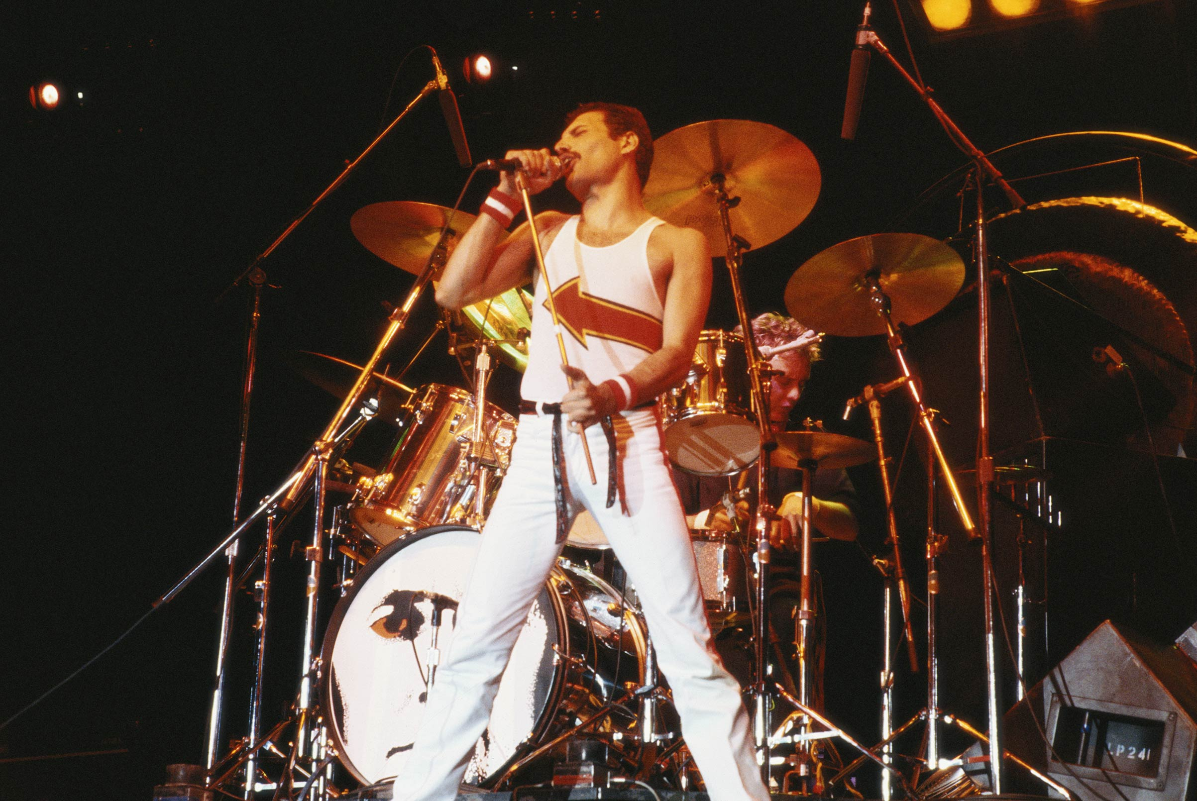 Queen singer Freddie Mercury performing at the band's concert at the National Bowl in Milton Keynes, England, on Jun. 5, 1982.