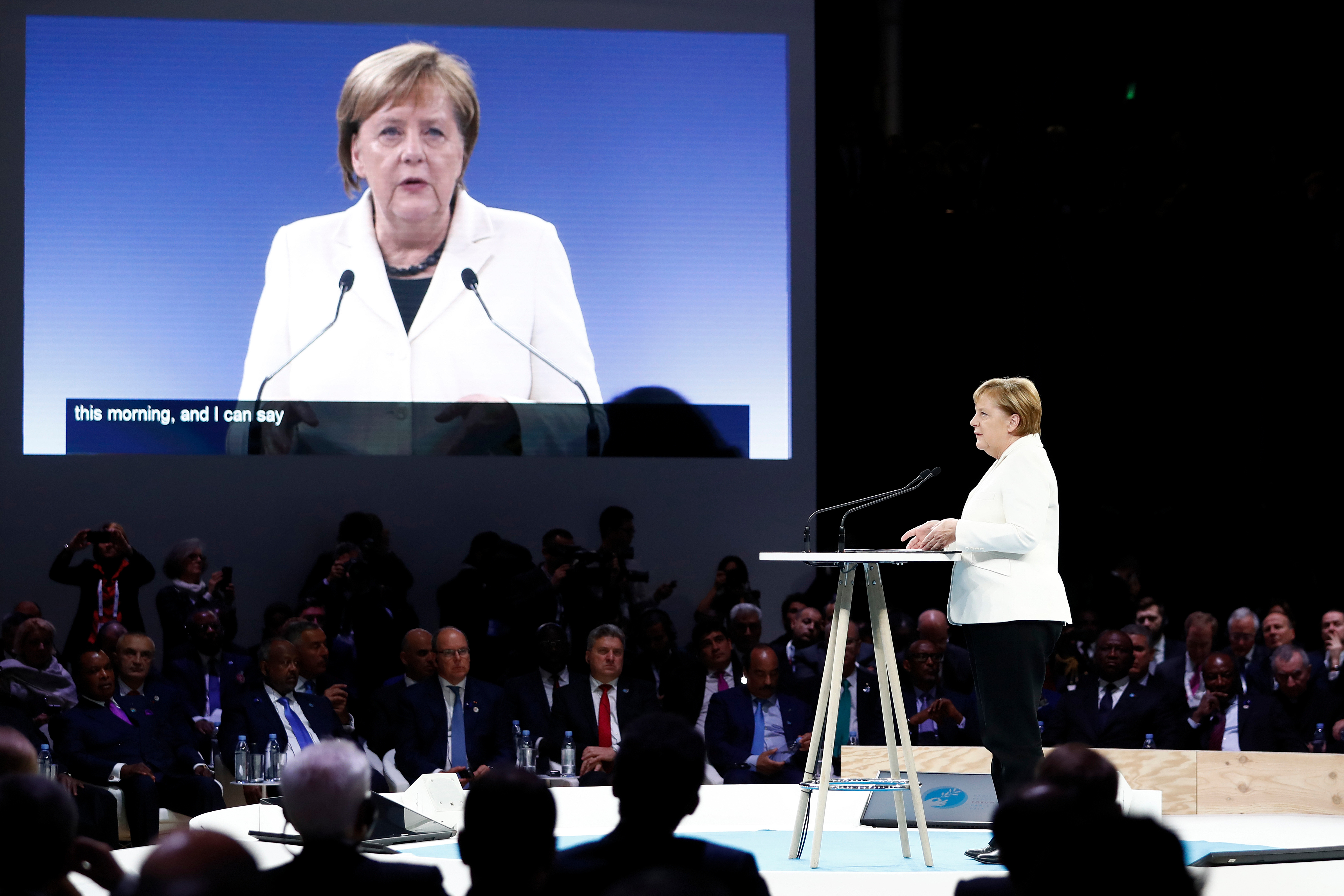 German Chancellor Angela Merkel speaks during the opening session of the Paris Peace Forum as part of the international commemoration ceremony for the Centenary of the WWI Armistice on Nov. 11, 2018.